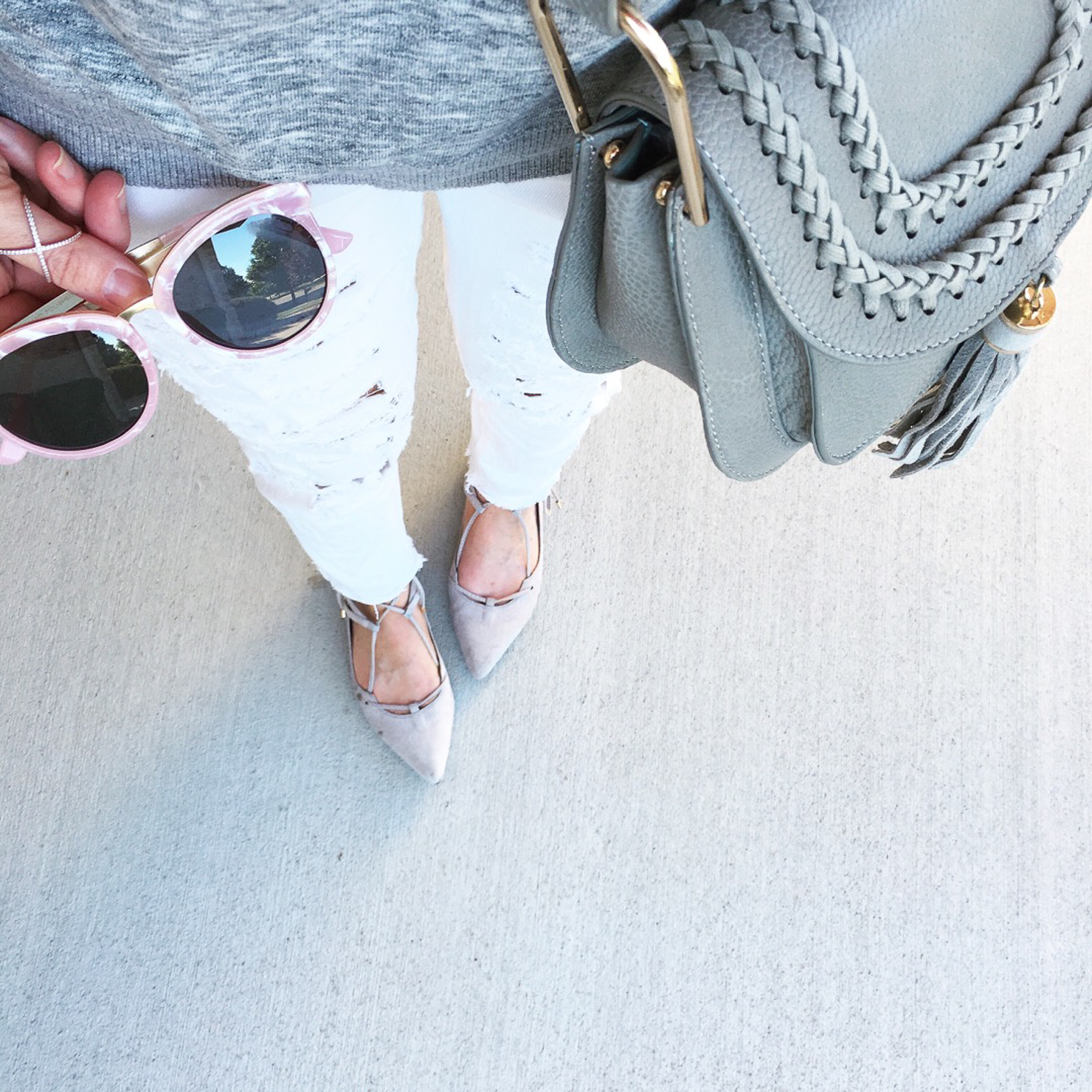 pink-sunnies-grey-chloe-hudson-dupe-white-distressed-jeans-grey-suede-lace-up-flats