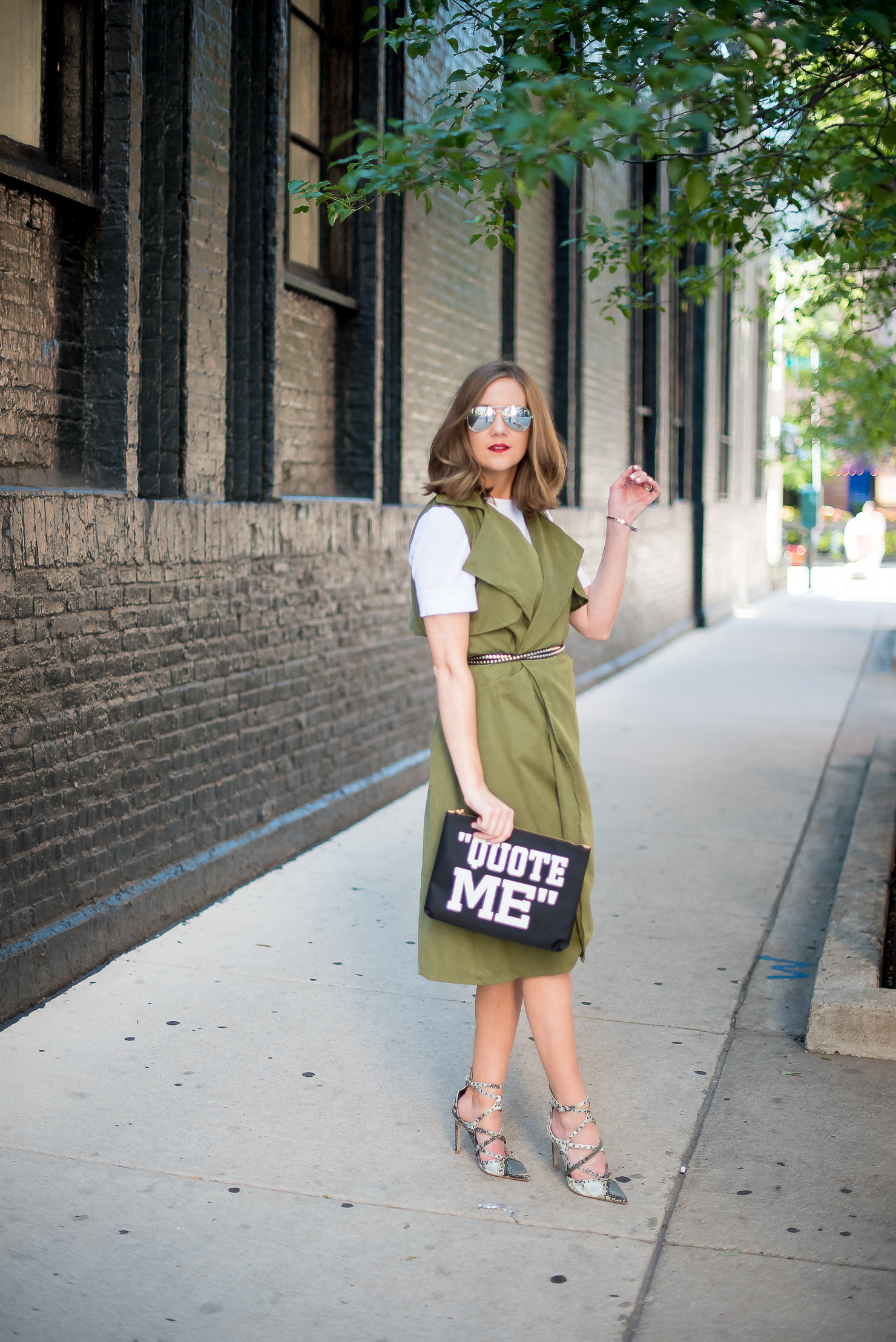 army-green-draped-trench-vest-zara-snakeskin-heels-banana-republic-quote-me-clutch-how-to-wear-a-trench-as-a-dress-trench-dress
