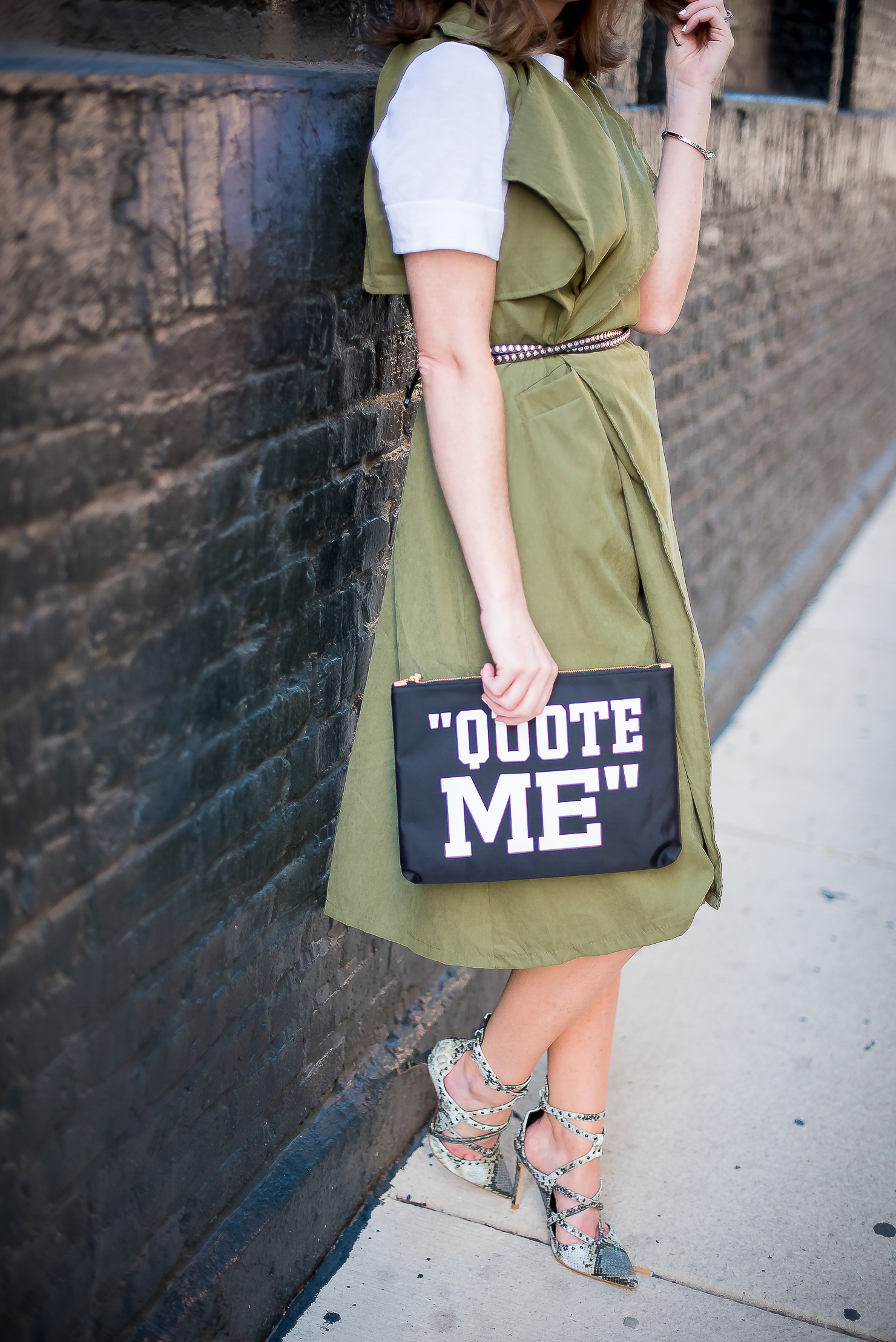 army-gree-draped-trench-vest-zara-snakeskin-heels-banana-republic-quote-me-clutch-how-to-wear-a-trench-as-a-dress-trench-dress
