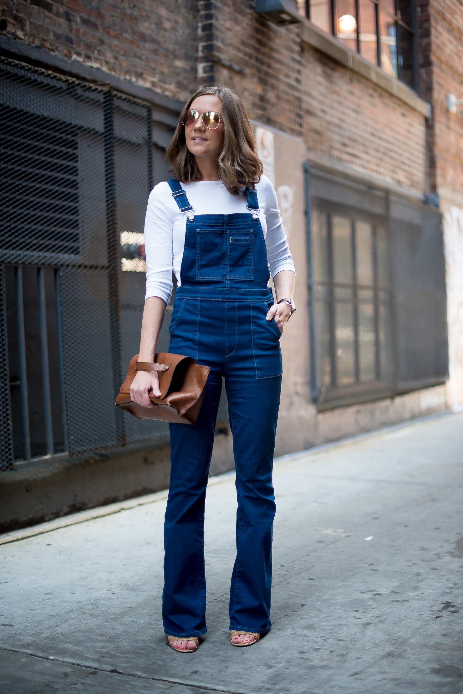 gap-flared-denim-overallszara-foldover-clutch-wearatile-silk-scarf-wishes-and-reality-chicago-fashion-blogger