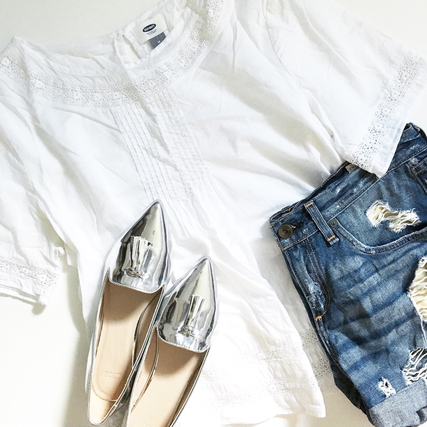 old-navy-embroidered-swing-top-denim-cut-offs-silver-tassel-pointed-loafers