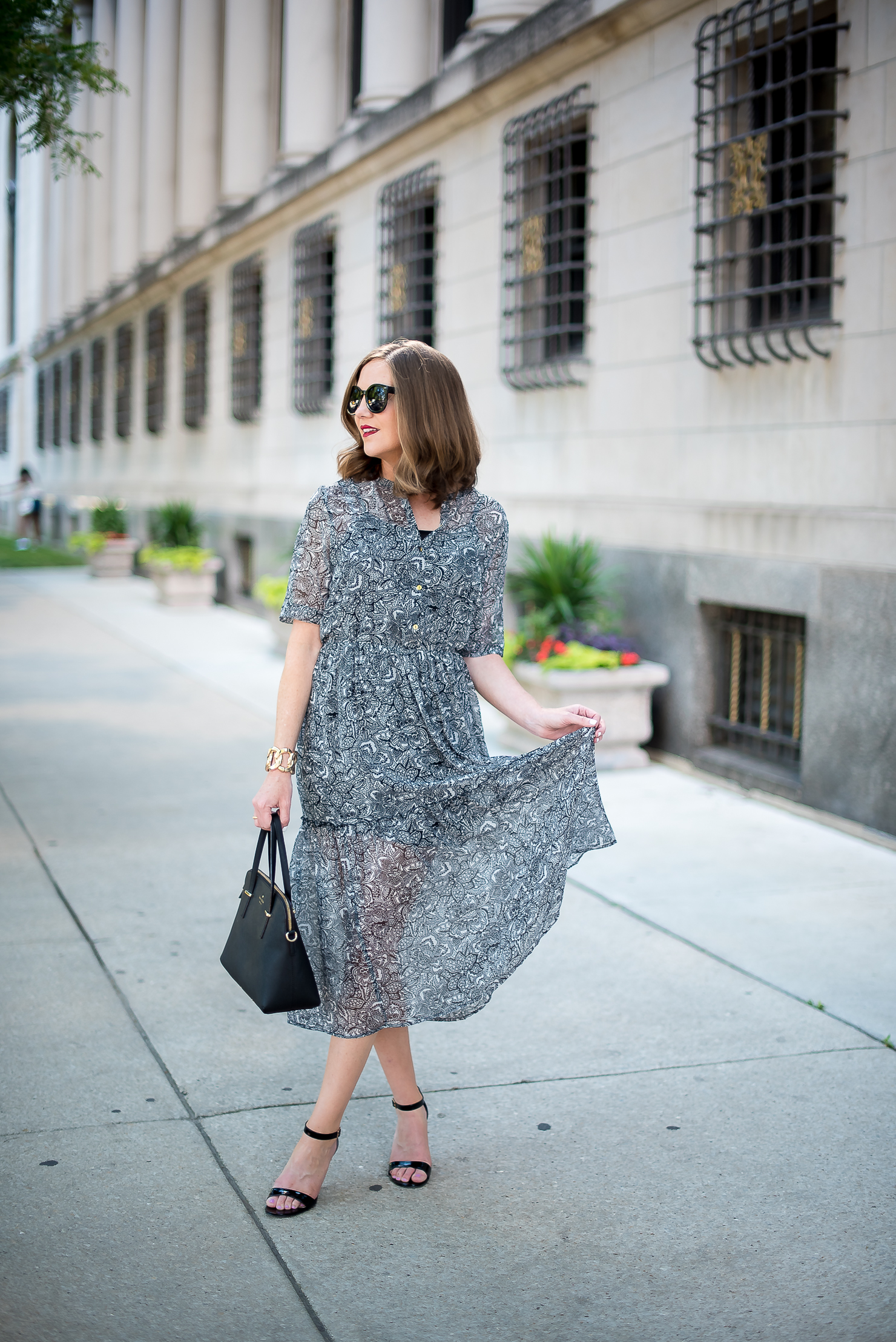 target-who-what-wear-printed-midi-dress-classic-feminine-ladylike-kate-spade-cedar-maise-gold-details-chicago-drake-hotel-10