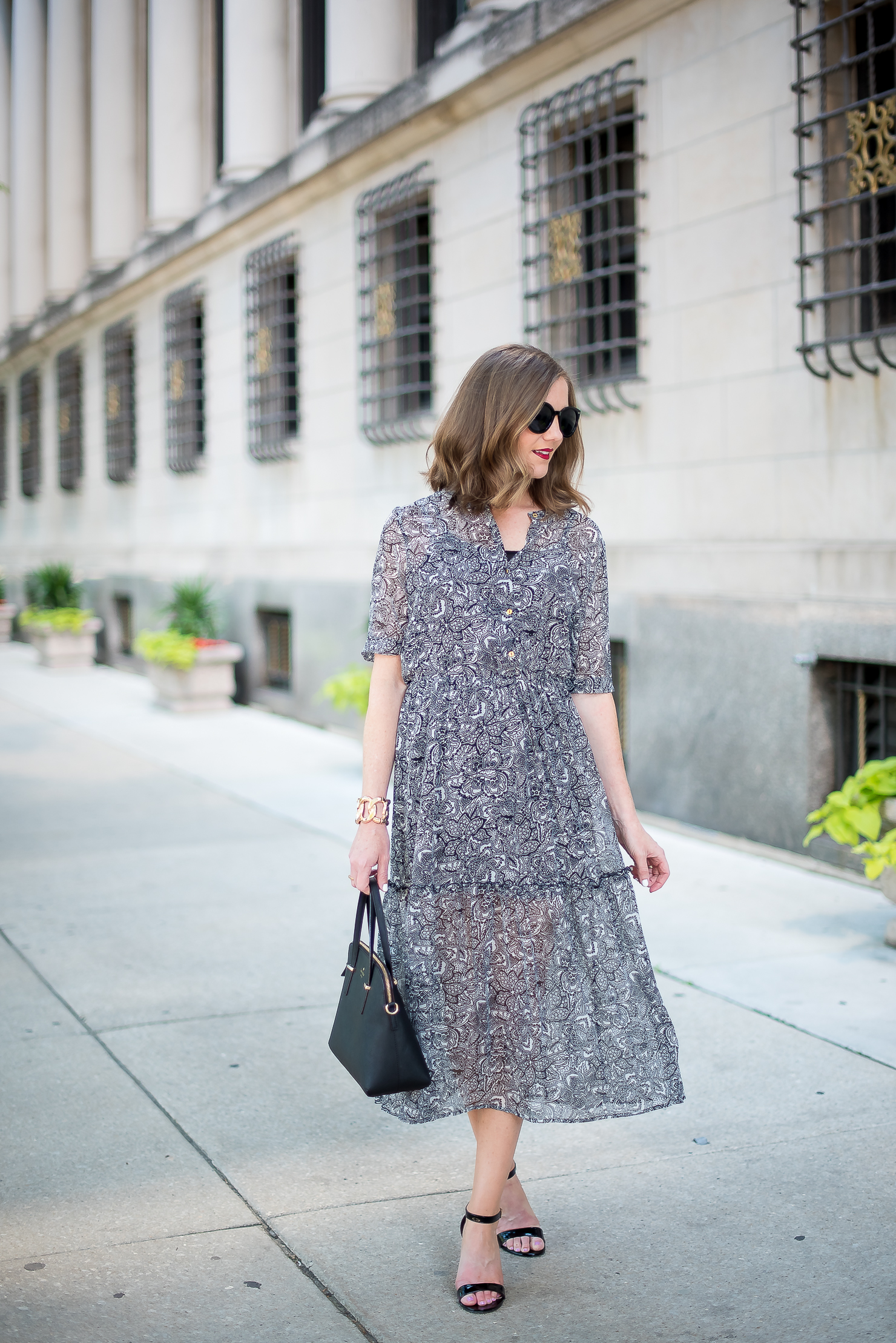 target-who-what-wear-printed-midi-dress-classic-feminine-ladylike-kate-spade-cedar-maise-gold-details-chicago-drake-hotel-3
