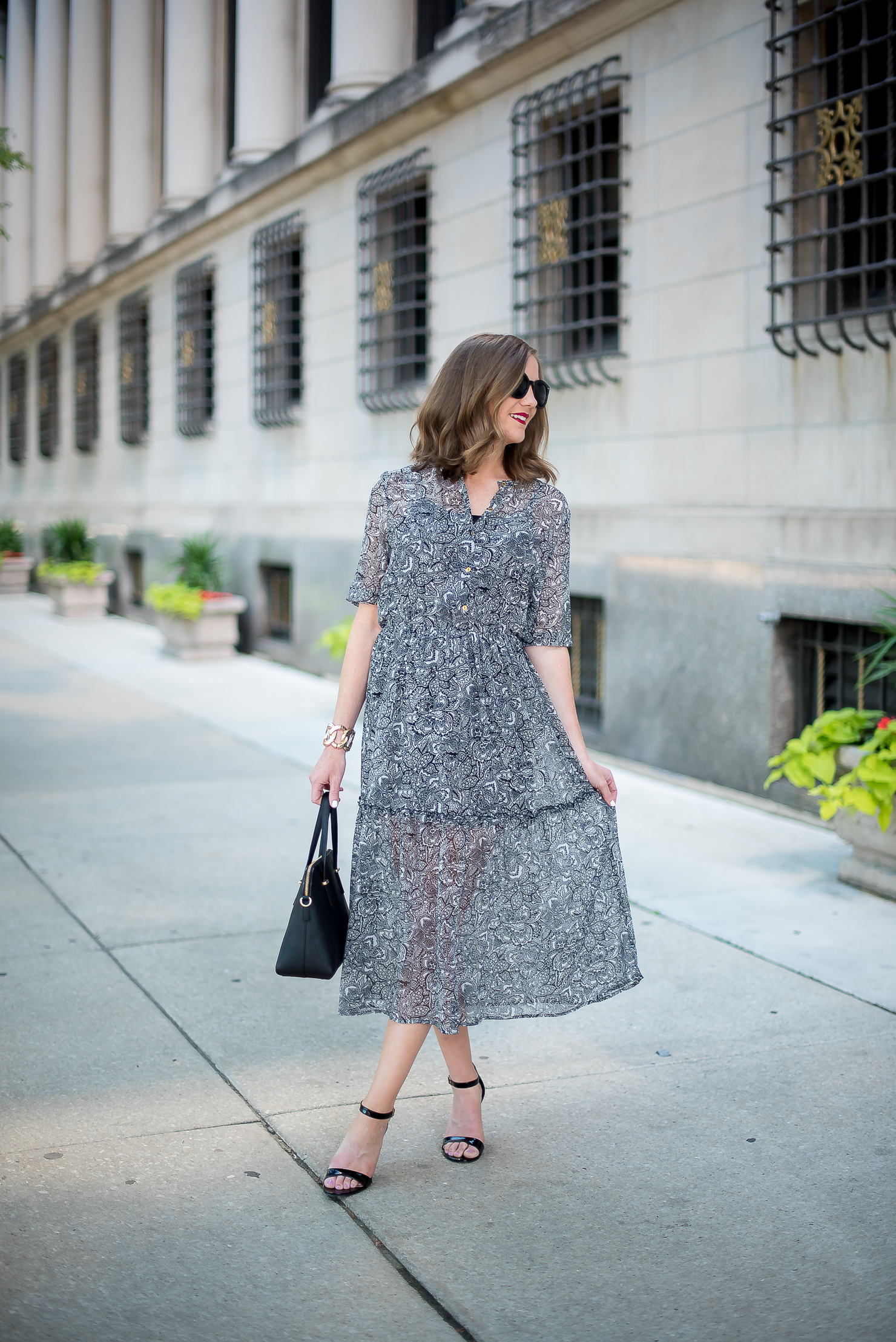 target-who-what-wear-printed-midi-dress-classic-feminine-ladylike-kate-spade-cedar-maise-gold-details-chicago-drake-hotel-4