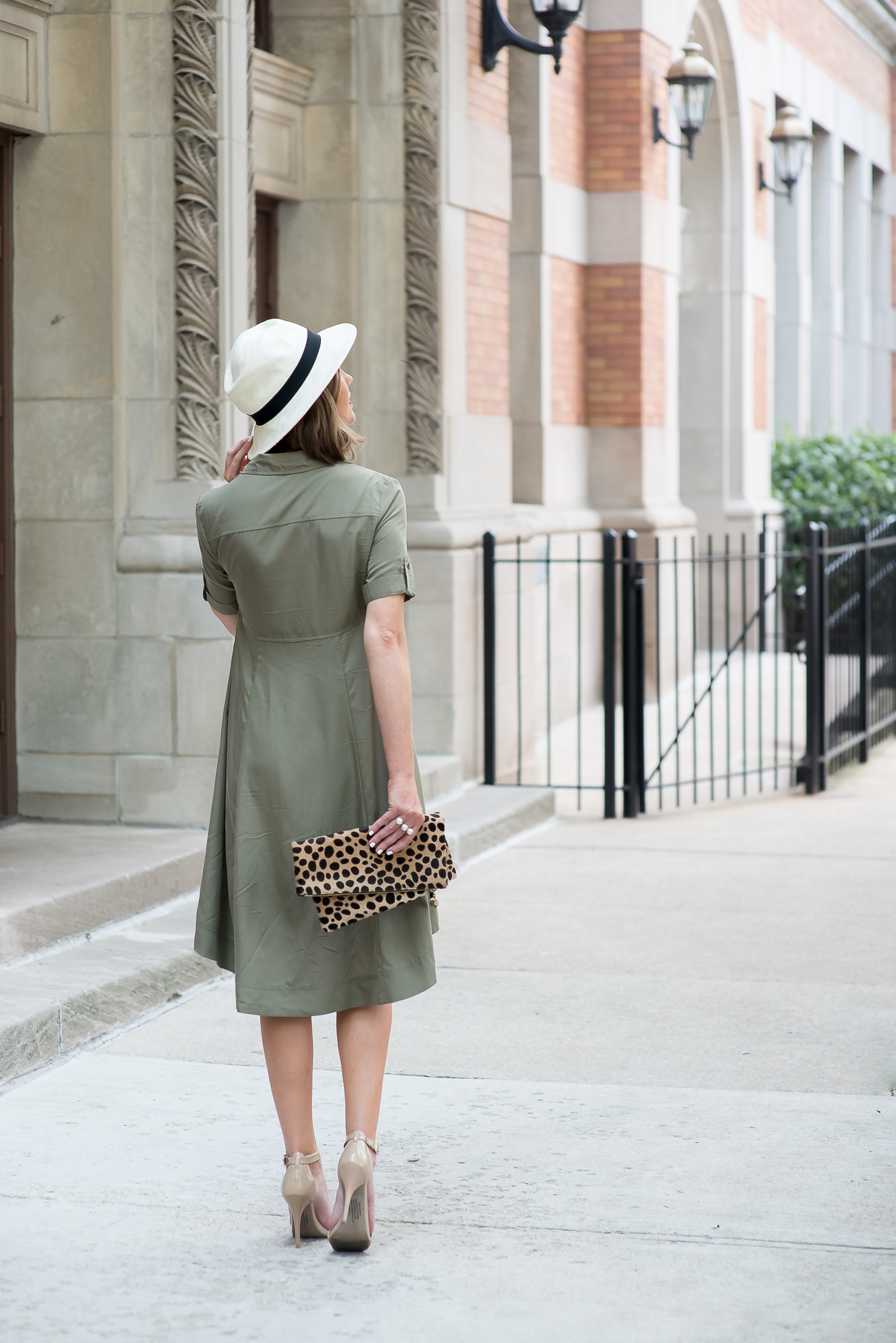 ECI-empire-waist-utility-dress-nude-pumps-clare-v-foldover-leopard-clutch-straw-fedora
