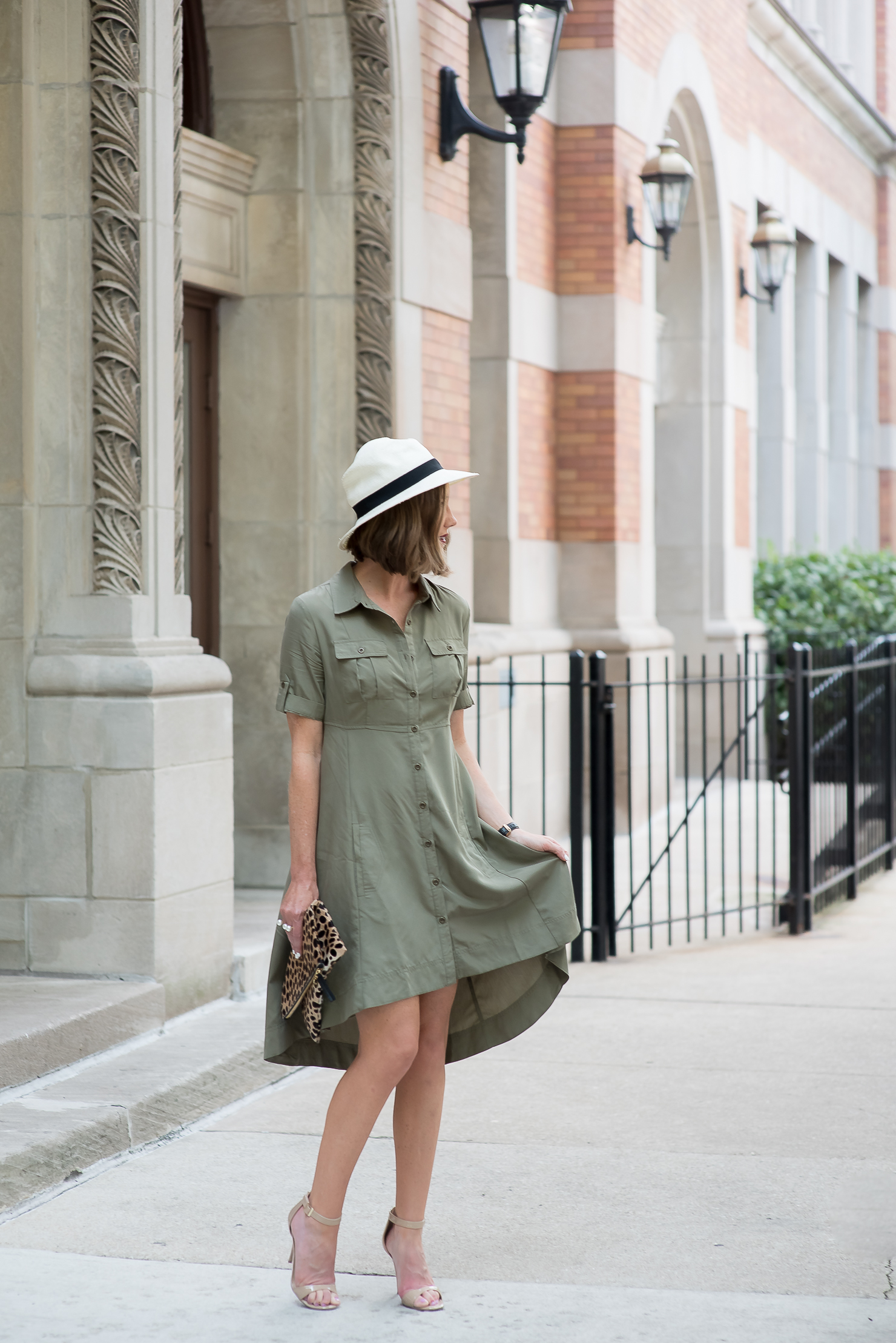 ECI-empire-waist-utility-dress-nude-pumps-clare-v-foldover-leopard-clutch-straw-fedora-15