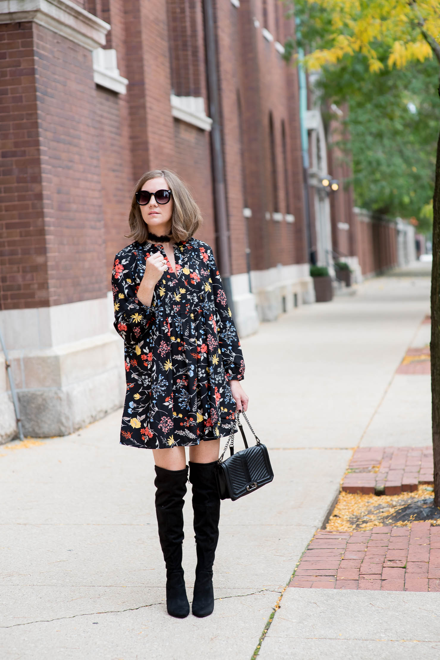 old-navy-dark-floral-tunic-dress-over-th-knee-boots-ruffle-choker-dressing-up-a-casual-dress-how-to-make-an-inexpensive-dress-look-expensive