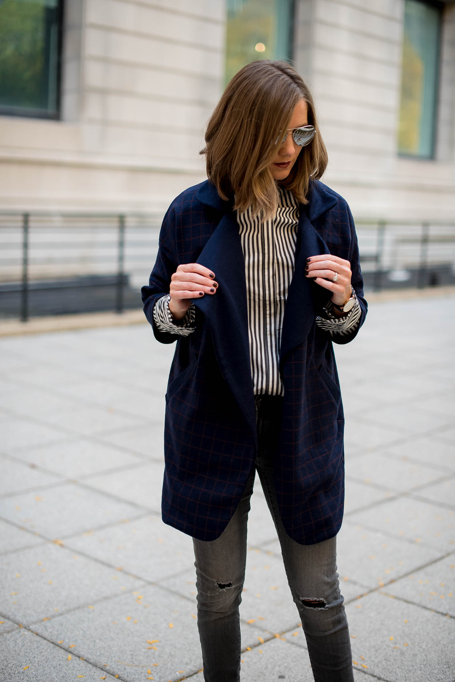 vipme-grip-print-overcoat-hm-ruffle-collar-striped-blouse-business-casual-outfit