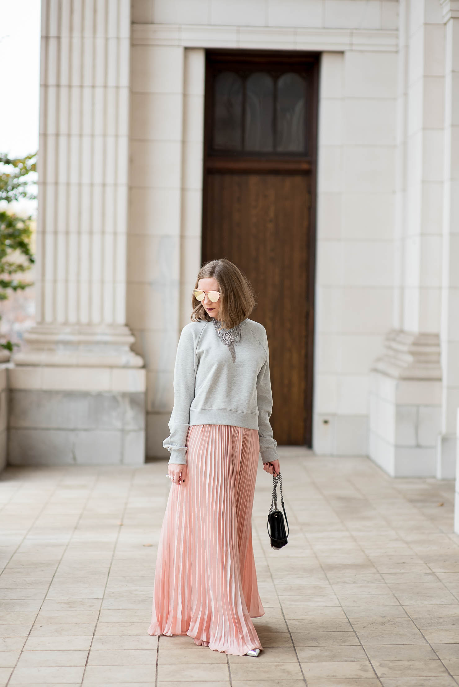 a-dramatic-pink-skirt-for-the-holidays-christmas-outfit-cozy-glam-shein-blush-pleated-maxi-skirt-pink-and-silver-holiday-outfit