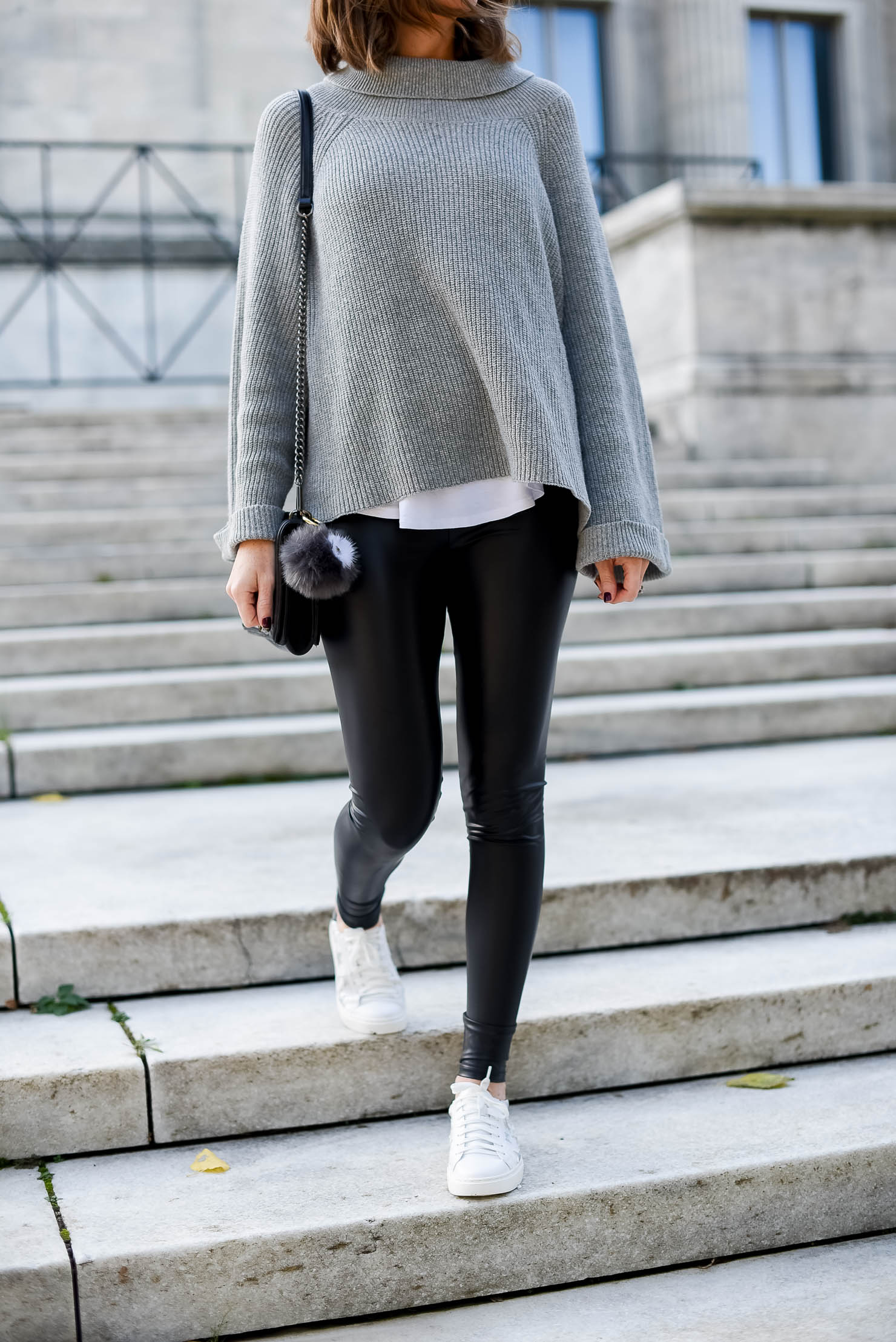 the cutest star sneakers for under $30 cozy and edgy outfit the best faux leather leggings its in the details monochromatic outfitv