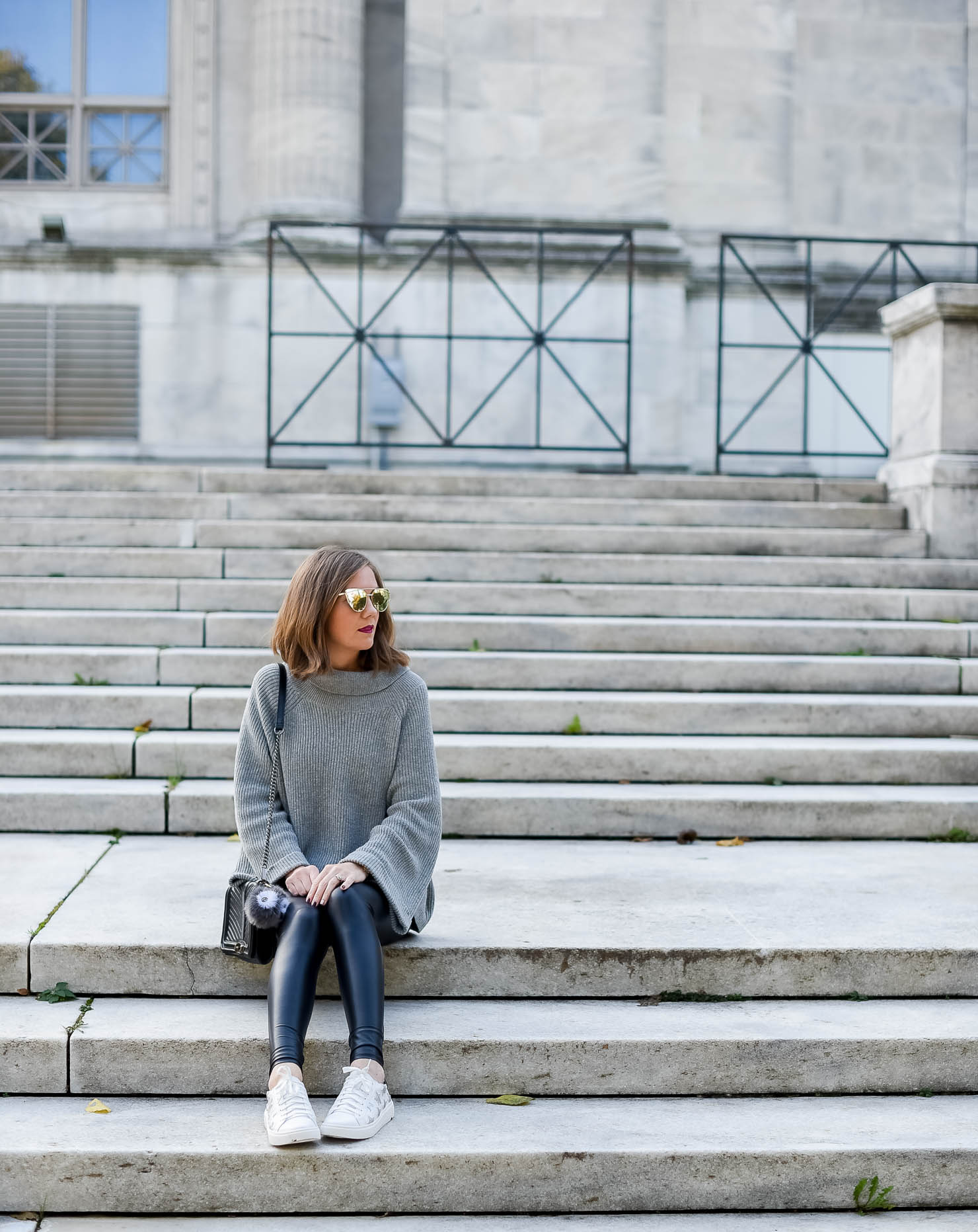 the cutest star sneakers for under $30 cozy and edgy outfit the best faux leather leggings its in the details monochromatic outfit