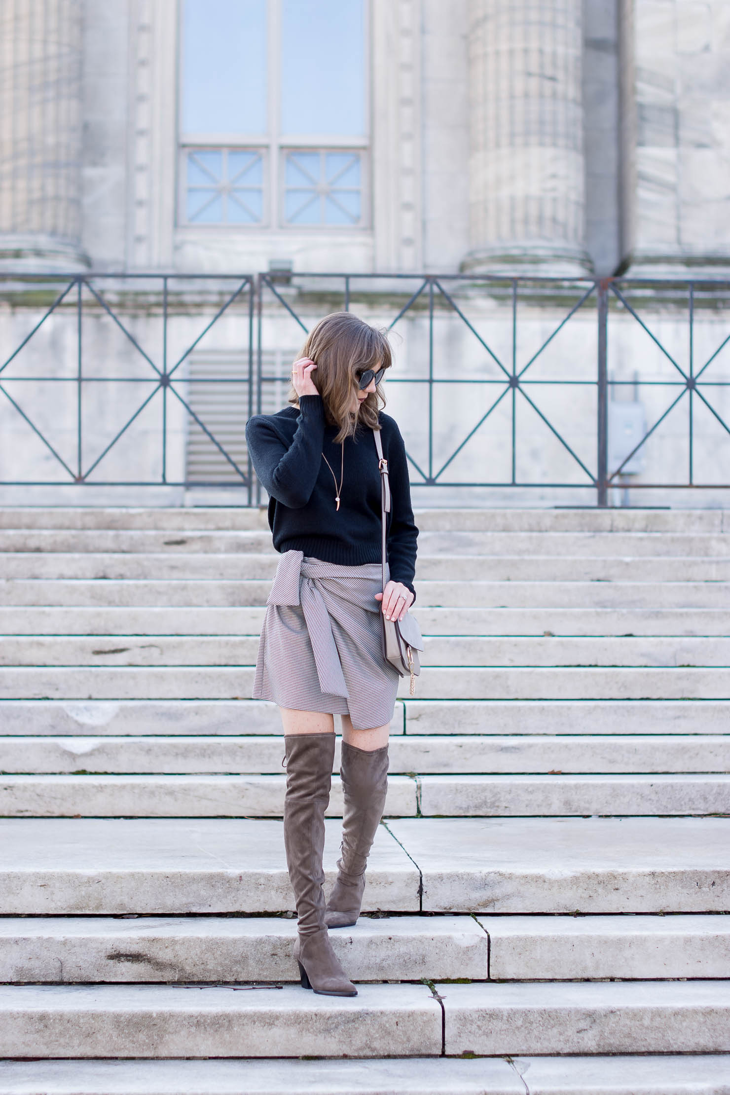 long-bob-with-bangs-zara-houndstooth-check-asymmetrical-mini-skirt-march-fisher-alinda-boots-chloe-faye-dupe-head-to-toe-neutrals