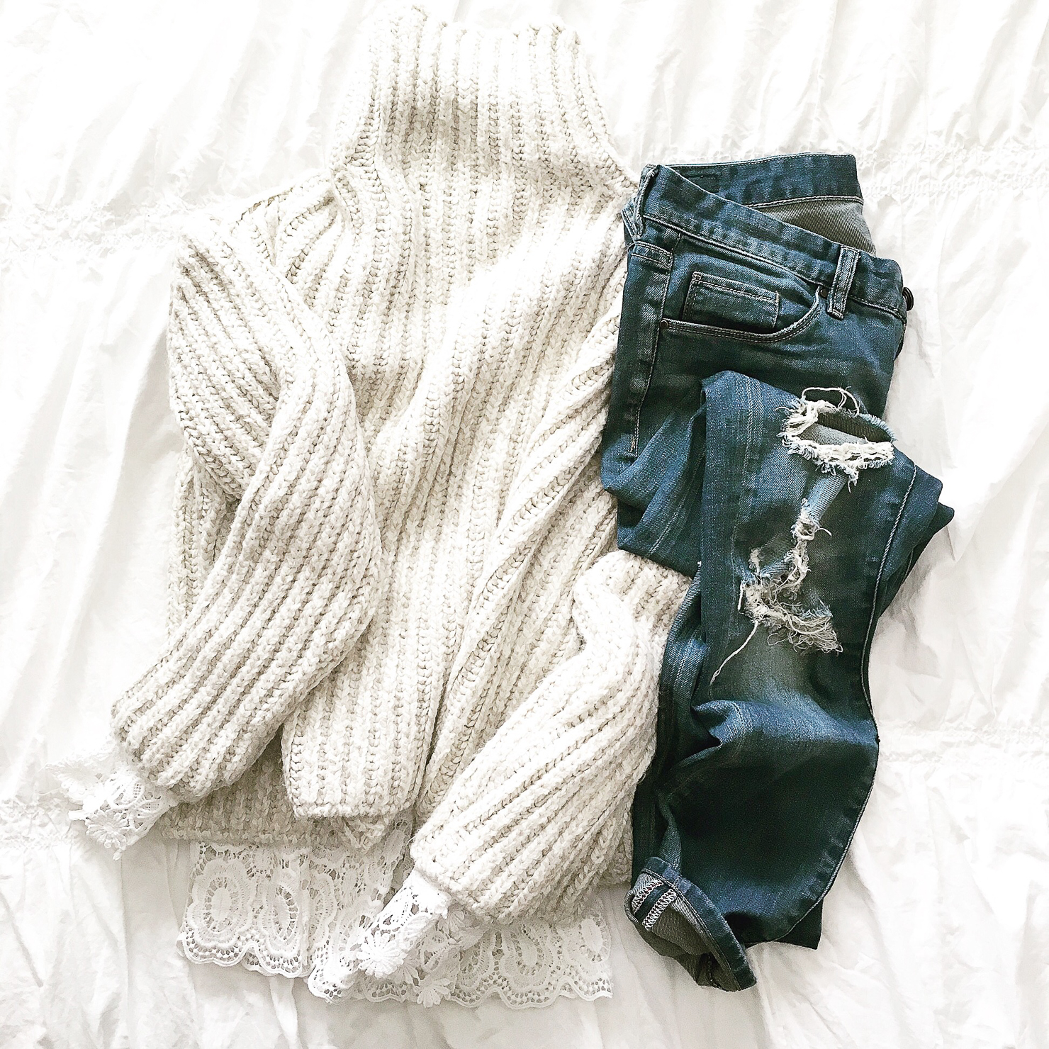 instagram-cozy-flatlay-chunk-knit-denim-and-lace