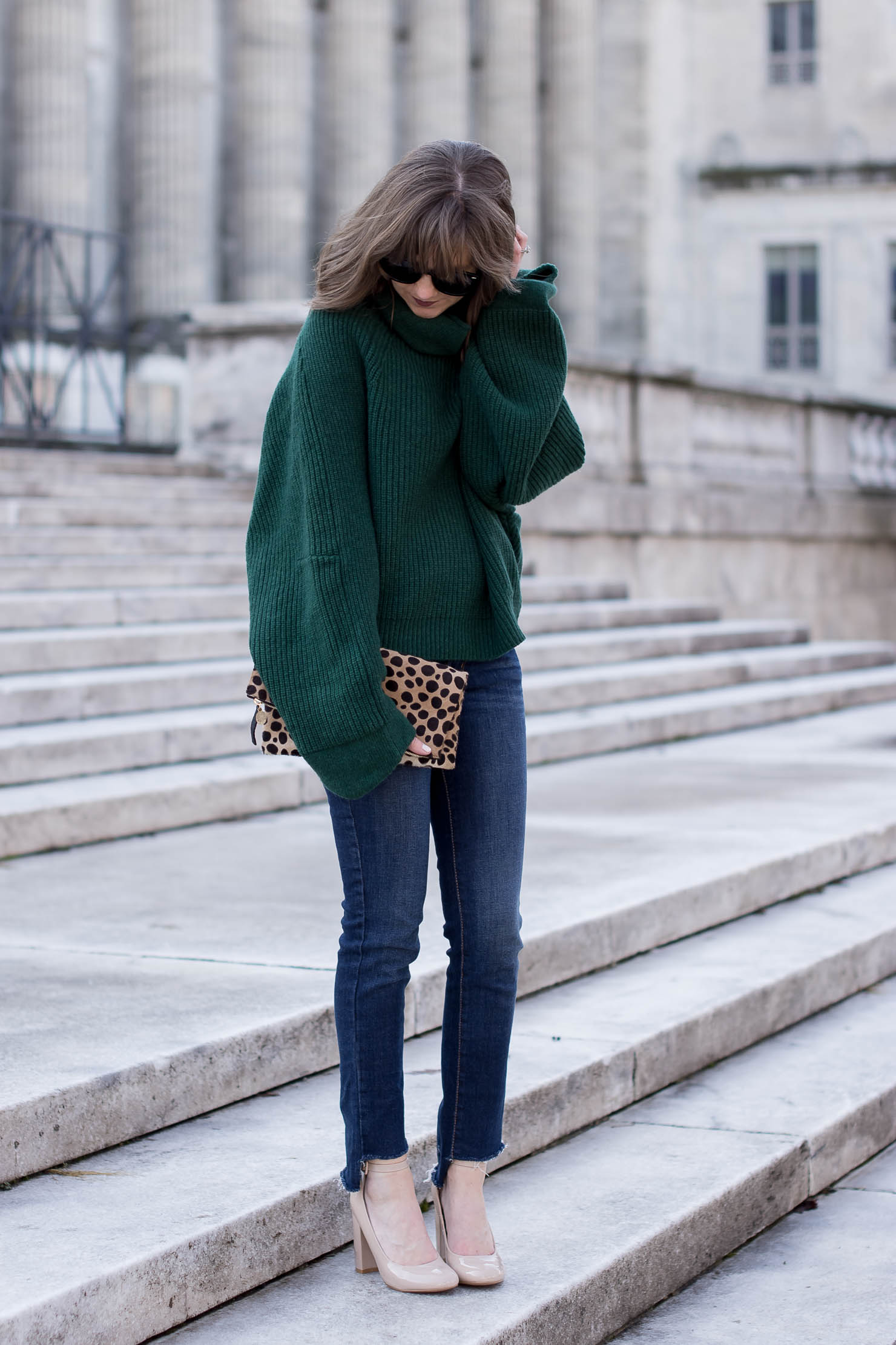 genuine people oversized sweater, oversized sweaters, DIY step hem jeans, steve madden nude-ankle strap block heels, my winter uniform, clare v leopard clutch
