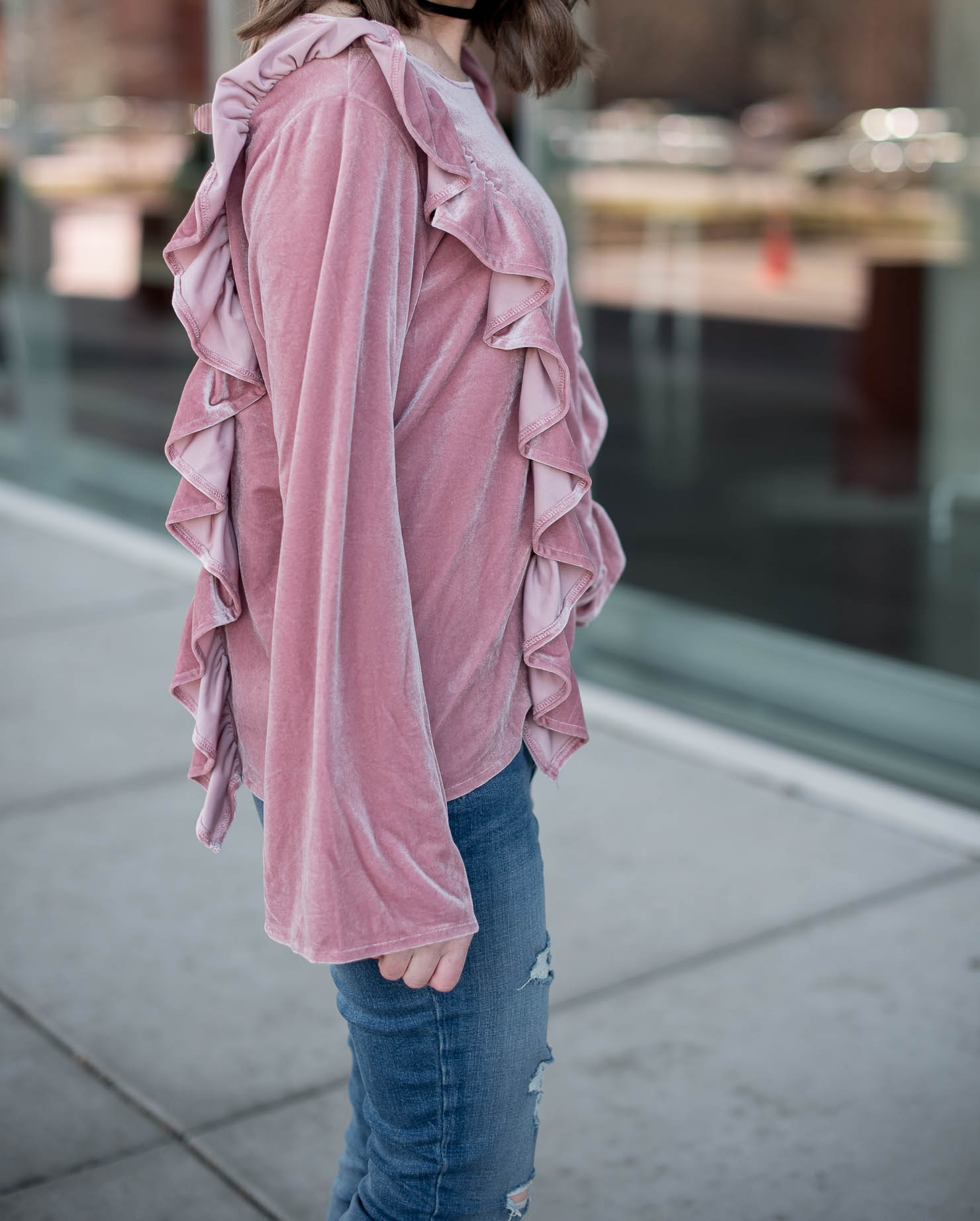 shein-pink-ruffles-velvet-top-blush-scalloped-block-heel-pumps-chloe-dupe-spring-style-spring-trends-2017-updated