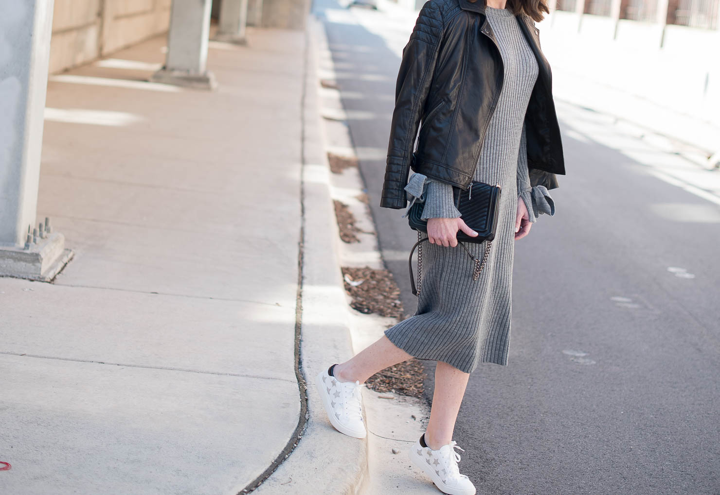 transitional fashion, taking your sweater dress into spring, asos, tie cuff, bell sleeves, leather moto jacket, star embellished sneakers