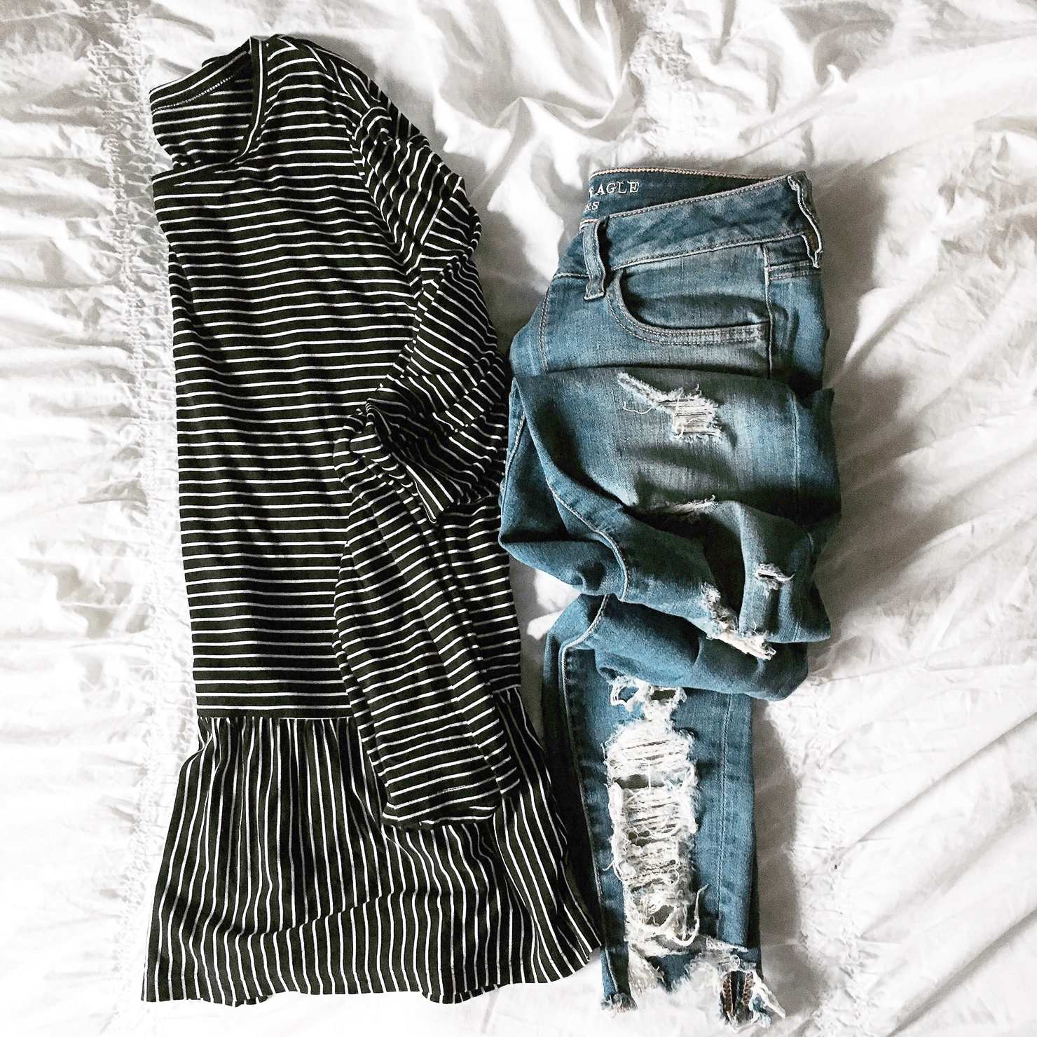 instagram-black-and-white-striped-peplum-top