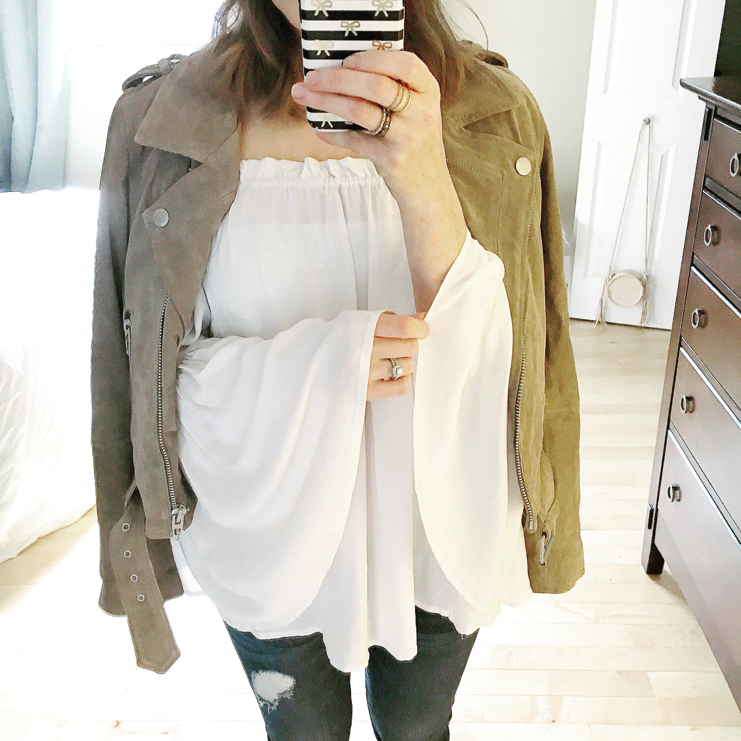 instagram-shein-bell-sleeve-off-the-shoulder-blouse-blanknyc-suede-jacket