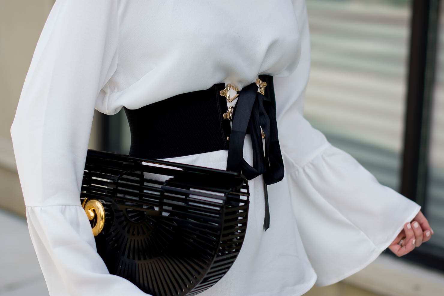 dynamite white bell sleeve blouse, how to wear the corset belt trend, new adventures, how to incorporate vintage into your wardrobe