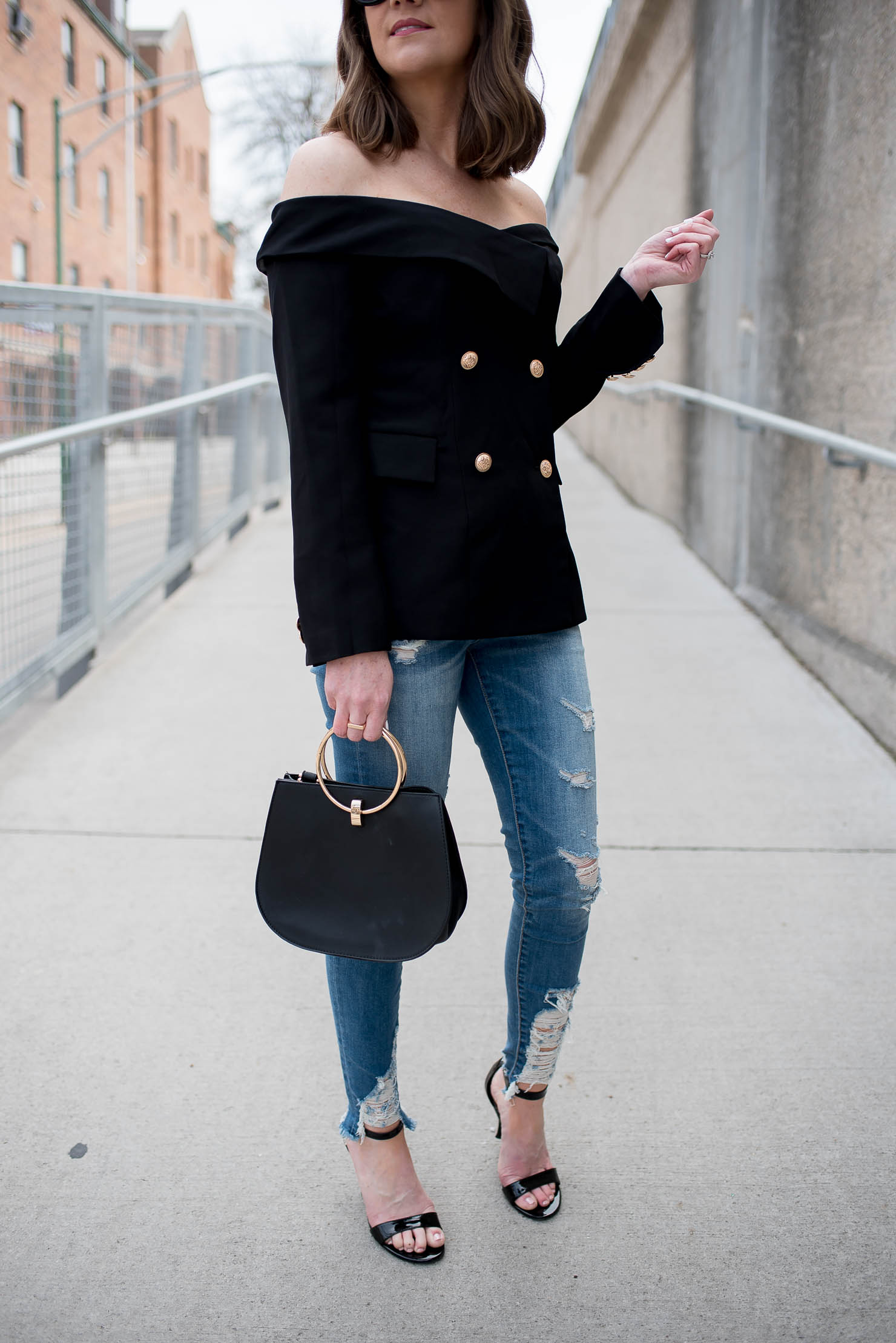 casual shoes exclusive shoes low priced shein-off-the-shoulder-blazer-edgy-business-casual-outfit-black ...