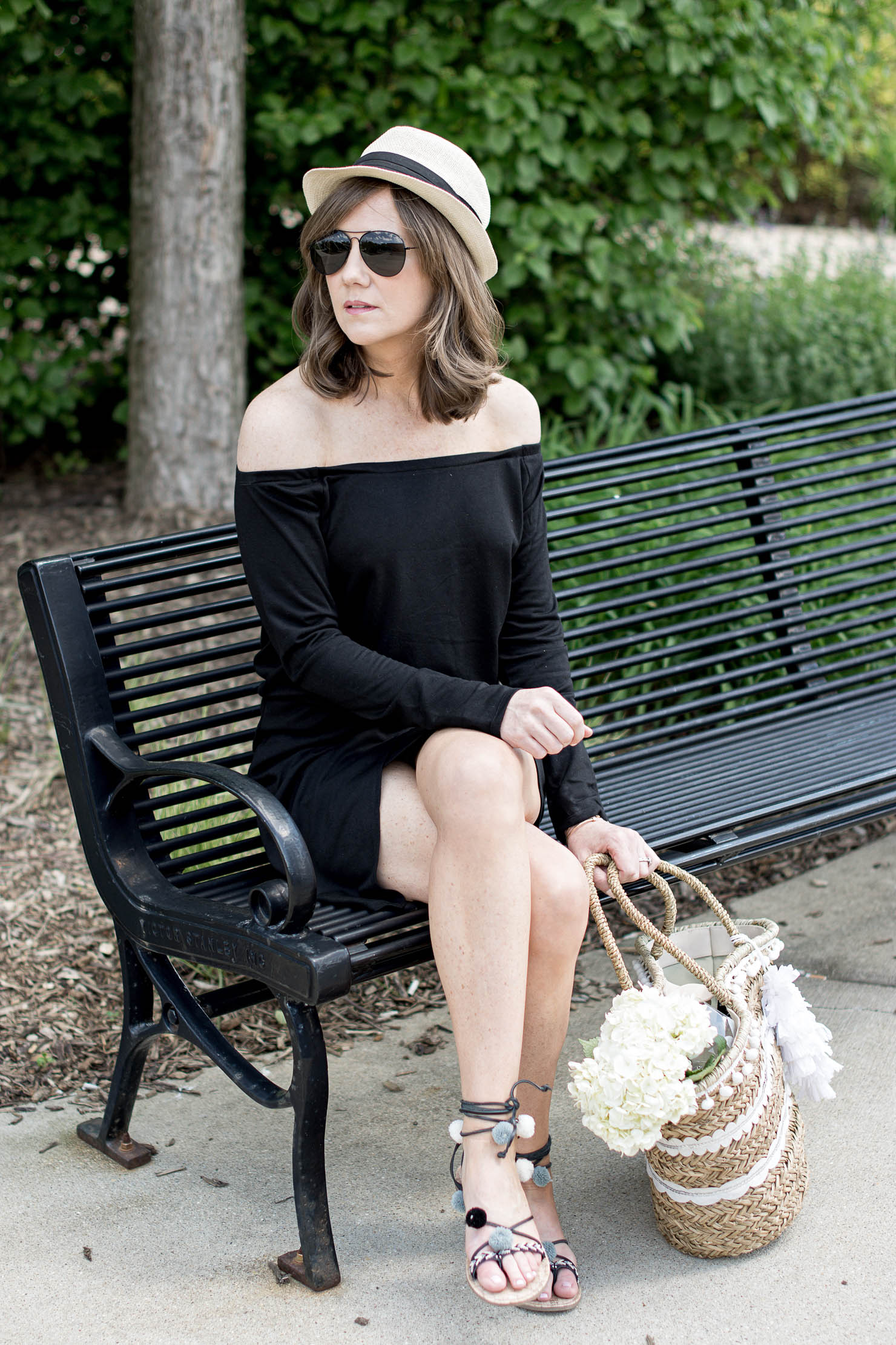 the perfect throw on and go summer dresses, off the shoulder knit dress, festival season, festival style, sequin straw tote, under 30 pompom sandals