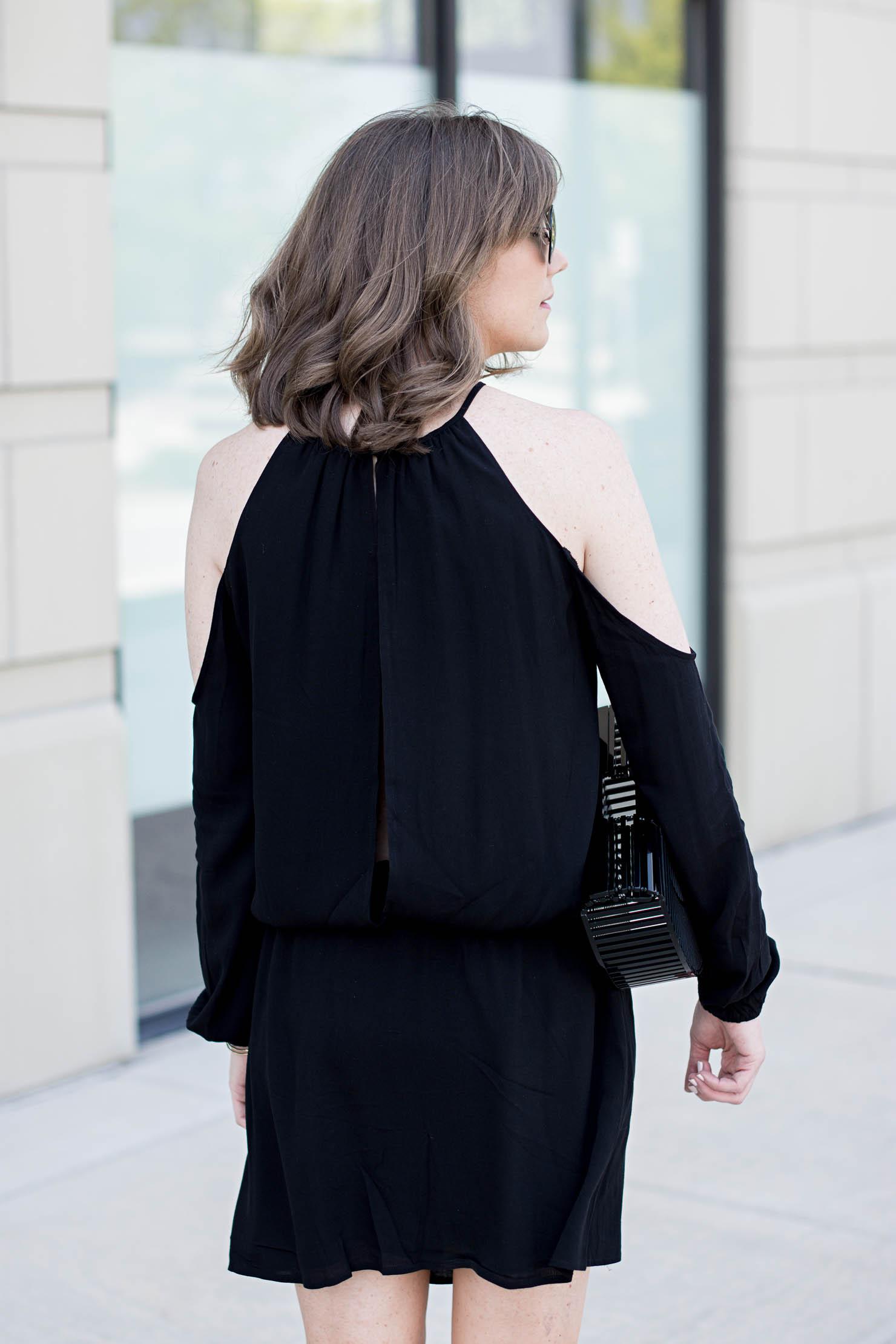 tobi cold shoulder open back summer dress, black cult gaia, clutch summer date night outfit, pompom sandals under $30, festival style