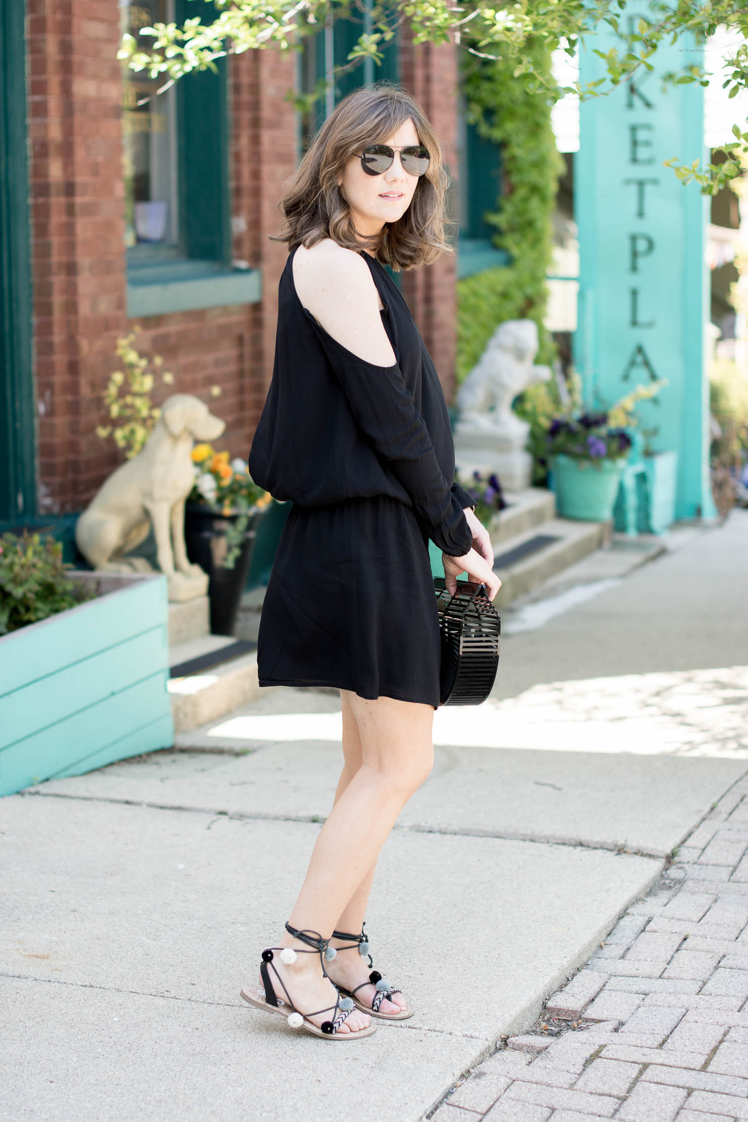 tobi cold shoulder open back summer dresses, black cult gaia, clutch summer date night outfit, pompom sandals under $30, festival style