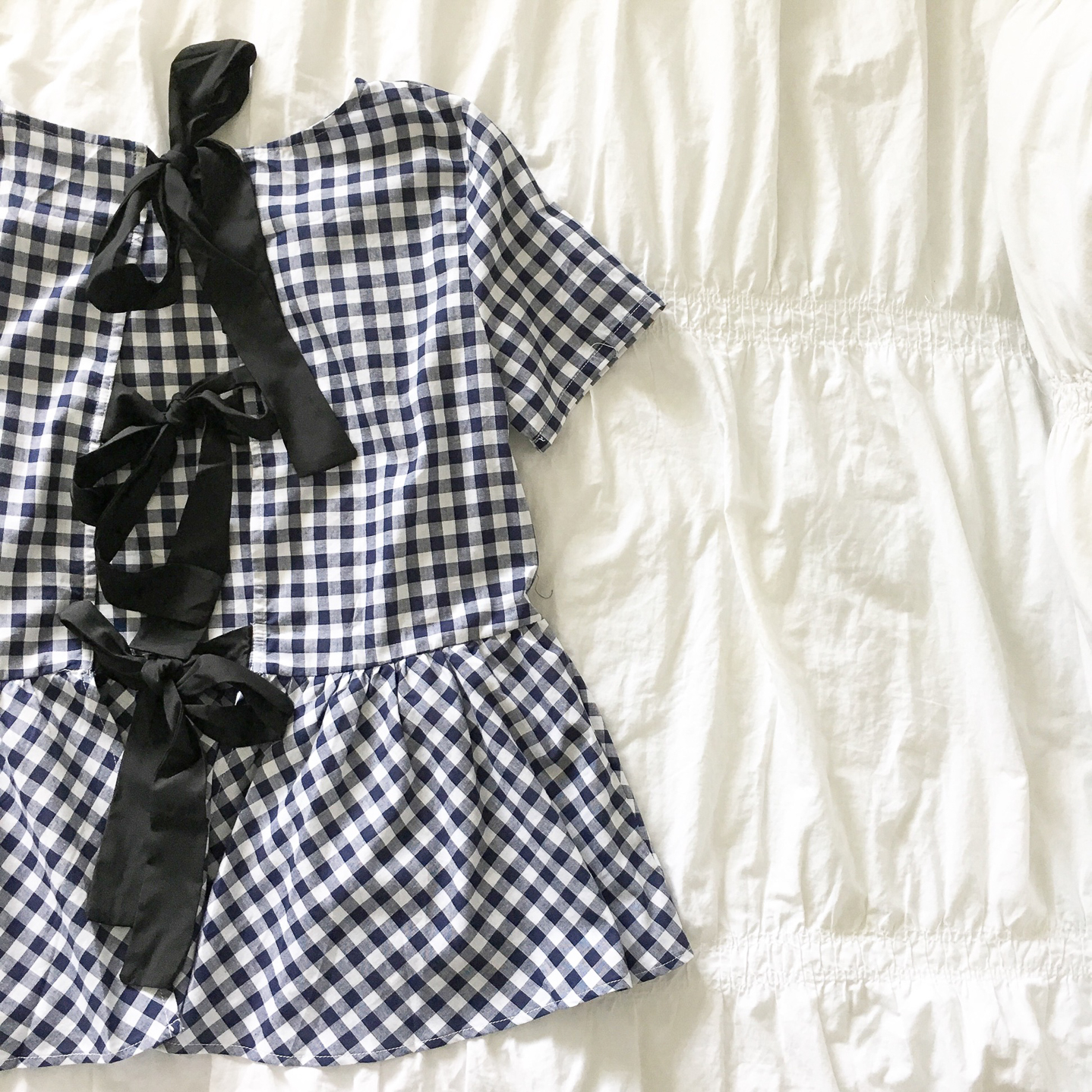my favorite outfits for summer, Instagram, life lately, bow back peplum gingham top