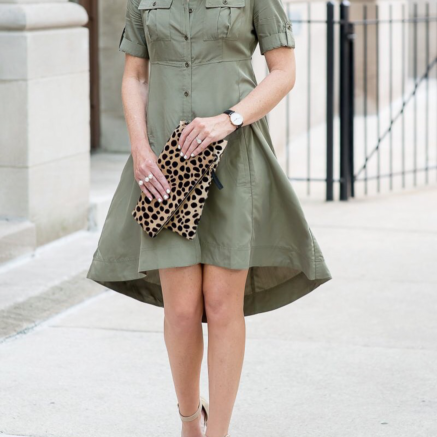 my favorite outfits for summer, Instagram, life lately, fit and flare shirt dress leopard clutch