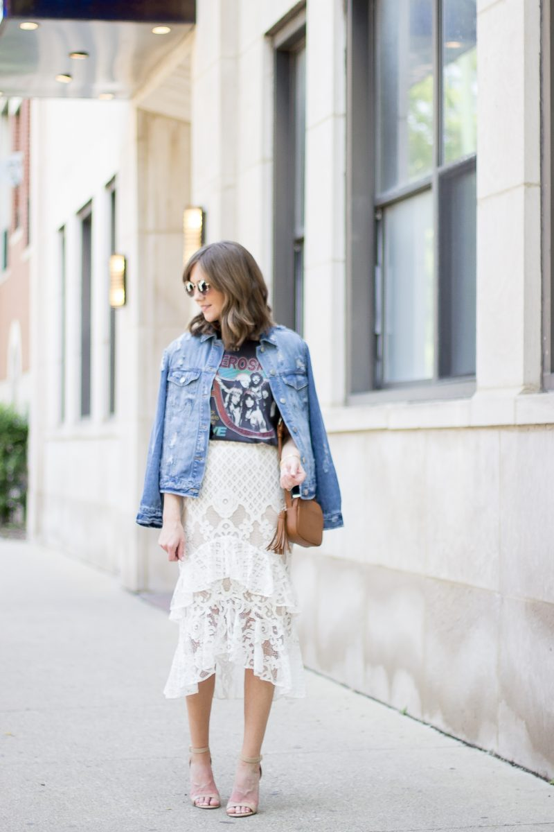 how to pull off the dressy casual trend, chelsea28 tiered lace midi skirt, how to style a graphic tee, distressed denim jacket, the best denim jacket under $75