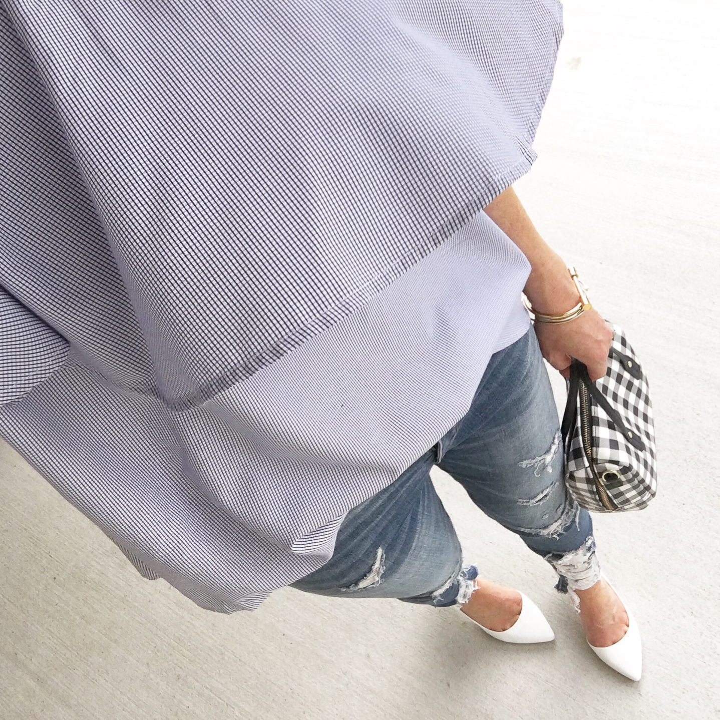 my favorite outfits for summer, Instagram, life lately, off the shoulder ruffle top, distressed jeans, white pumps, gingham purse