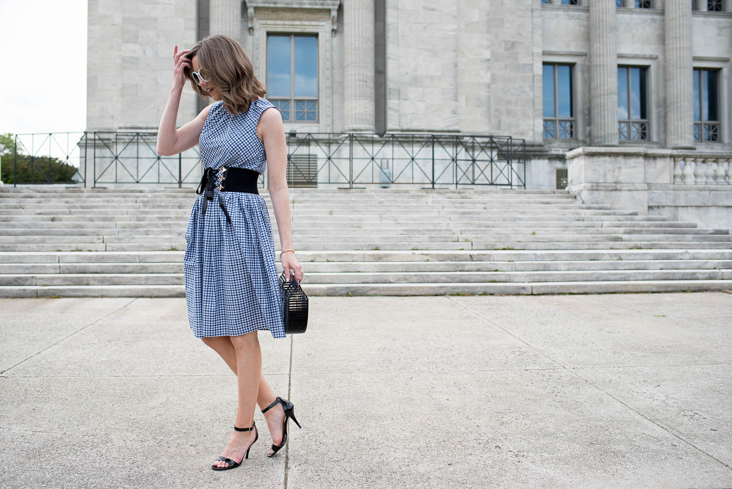 the gingham dress you'll wear everywhere under $30, fit and flare gingham dress, how to style a corset belt