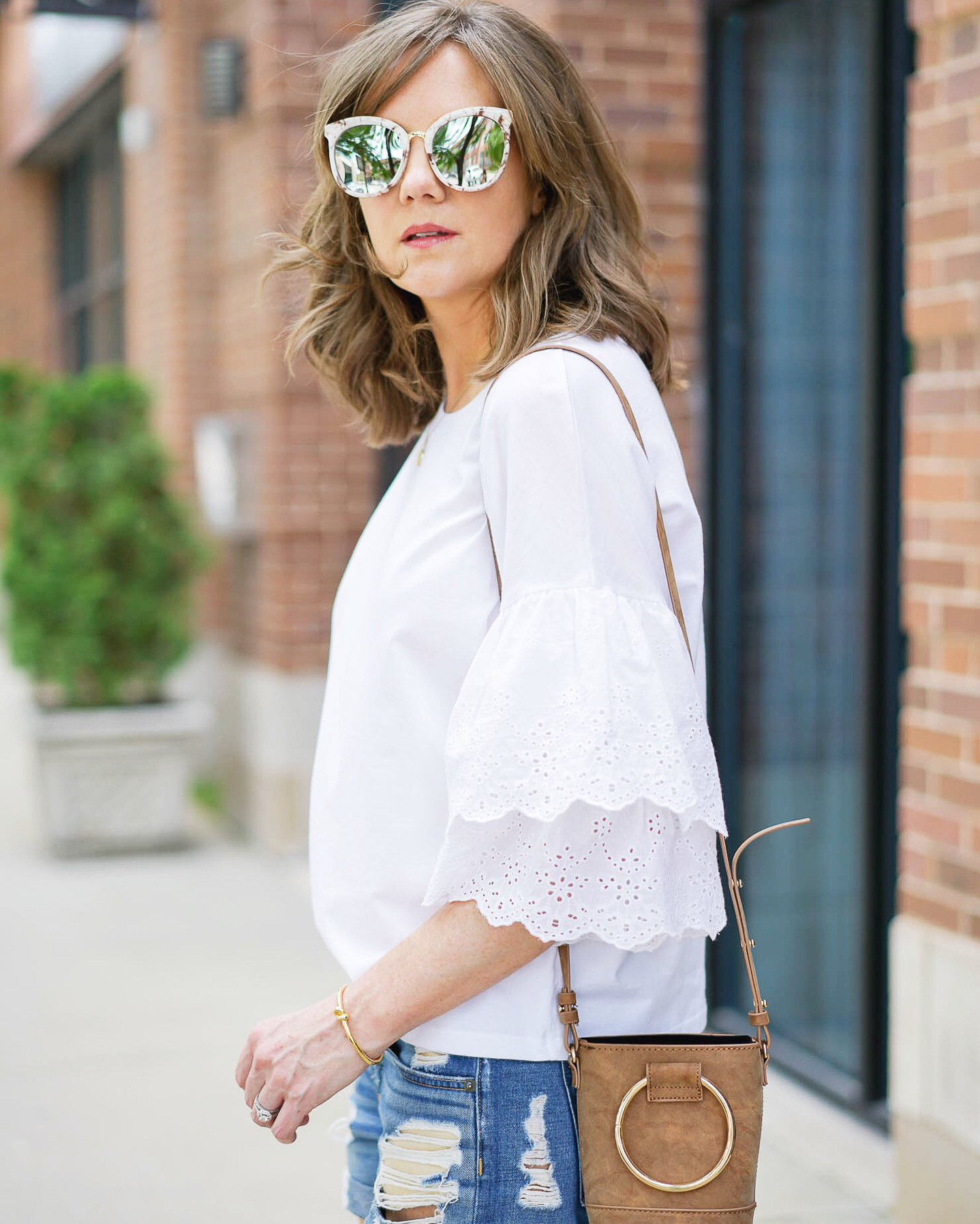 my favorite outfits for summer, Instagram, life lately, topshop eyelet bell sleeve tee