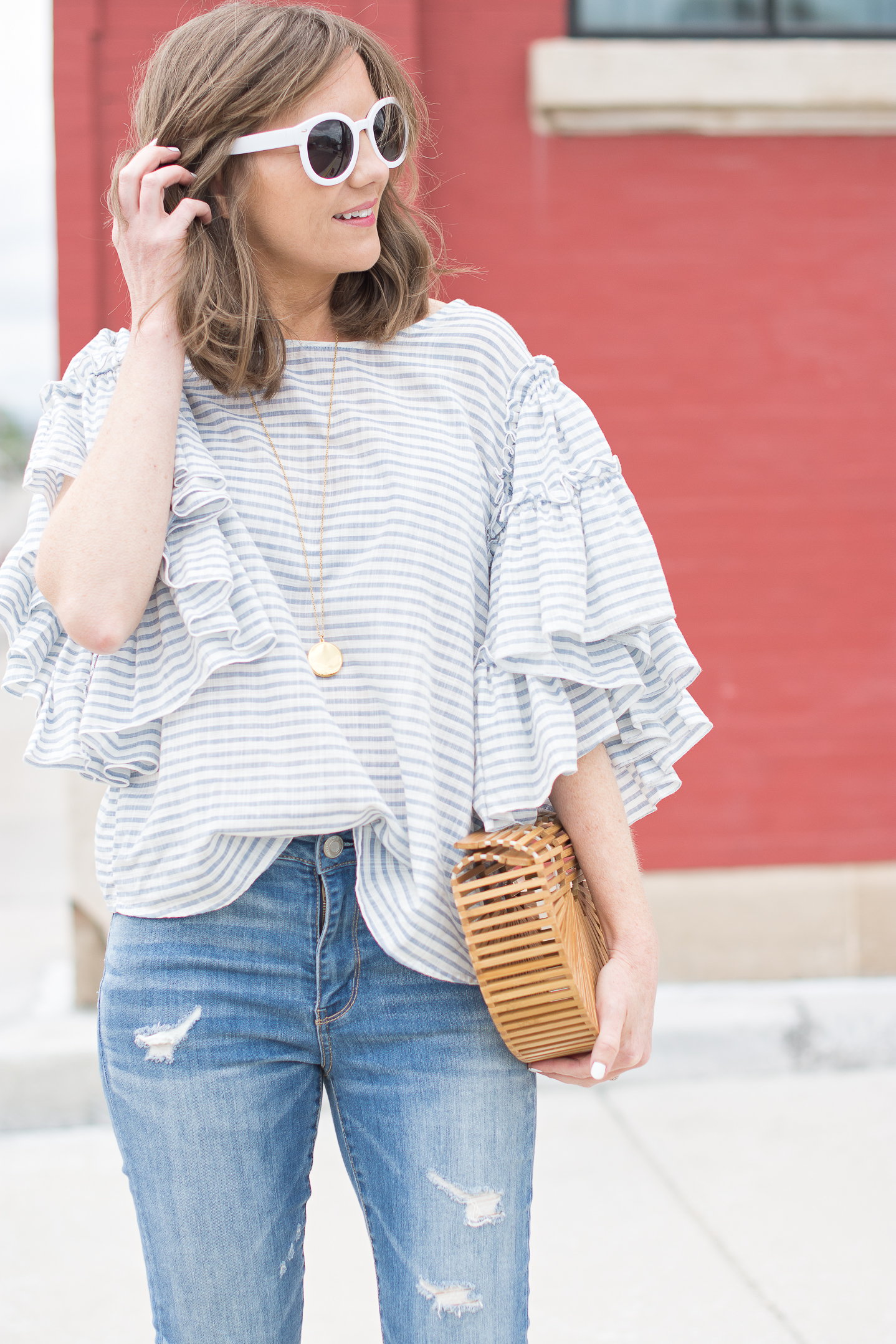 5ddf7c424fee easy-fourth-of-july-outfit-who-what-wear-ruffle-sleeve-blue-and-white- striped-blouse-summer-style-22
