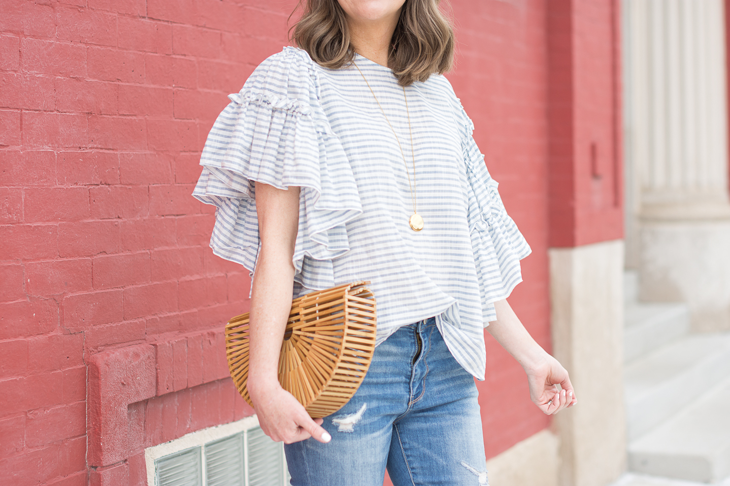 My Fourth of July Outfit: Blue + White + Ruffles, easy fourth of july outfit, who what wear ruffle sleeve blue and white striped blouse, summer style