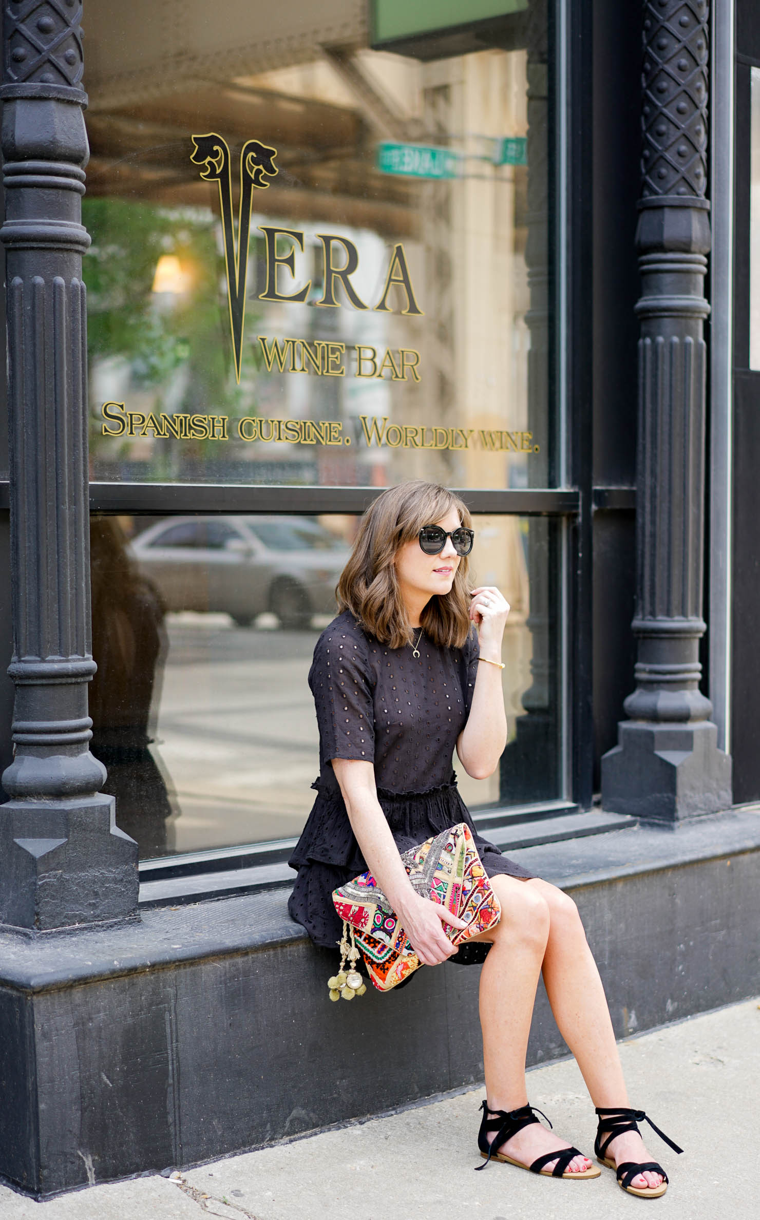 H&M black eyelet and ruffle dress, the $10 LBD you need, best last minute summer steals