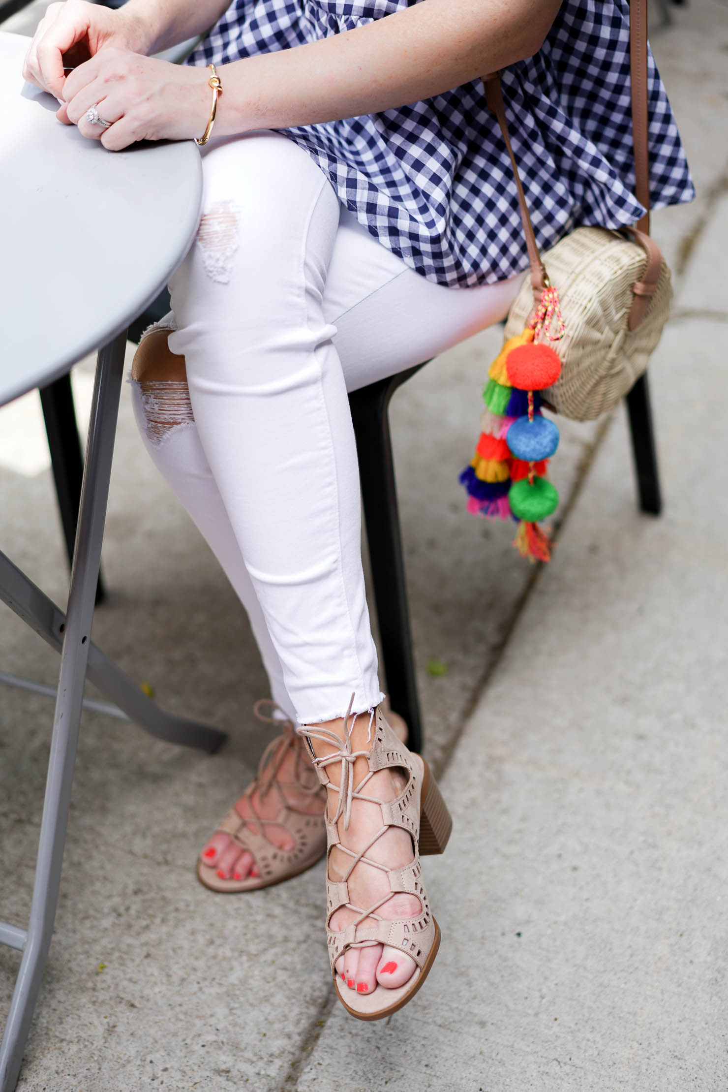 gingham peplum top with ties, j crew straw bag with tassels, the perfect brunch outfit, summer style, summer fashion