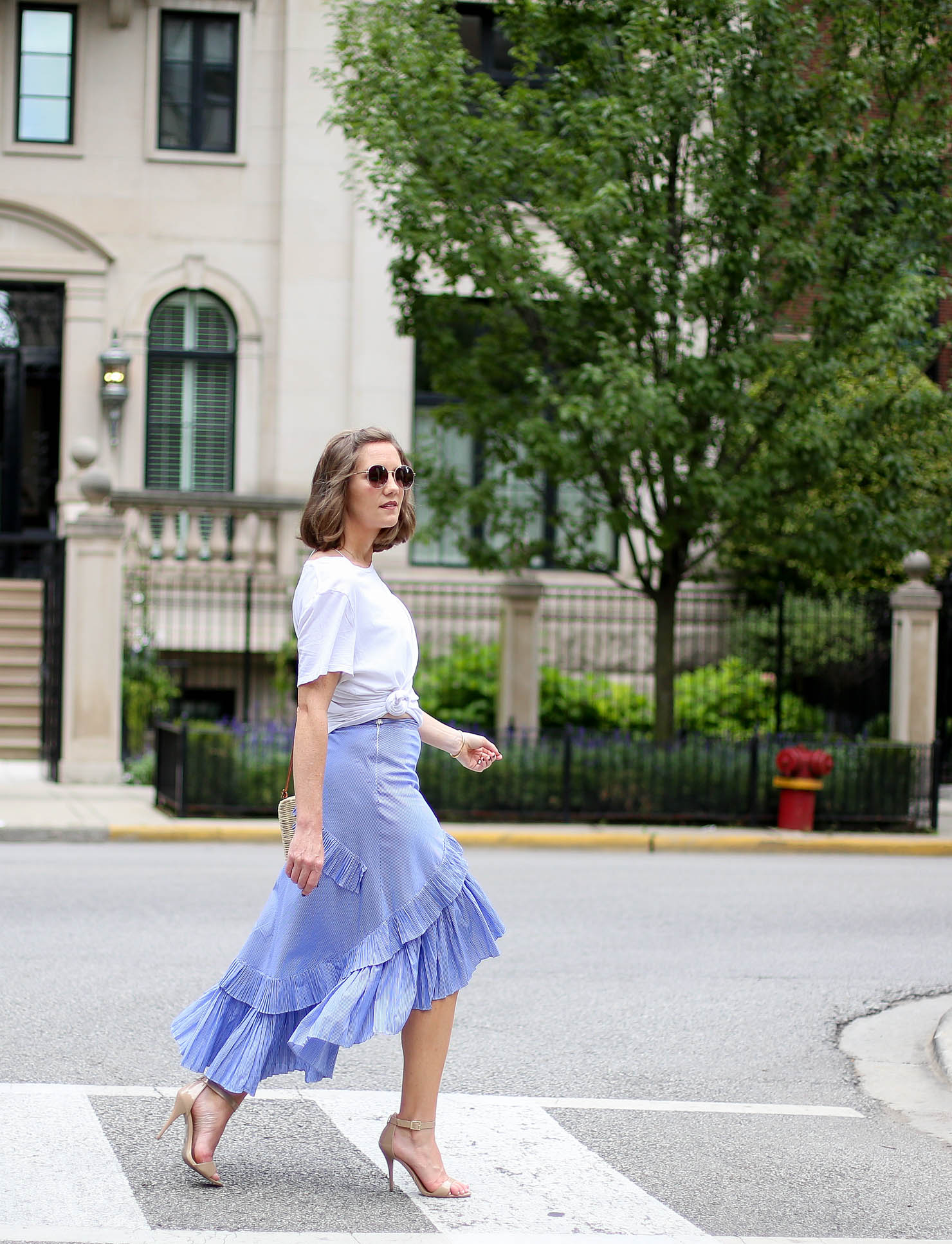 ruffle tiered frill hem skirt, blue stripe the most feminine skirt midi skirt, casual meets dressy frills and a white tee, favorite summer outfit