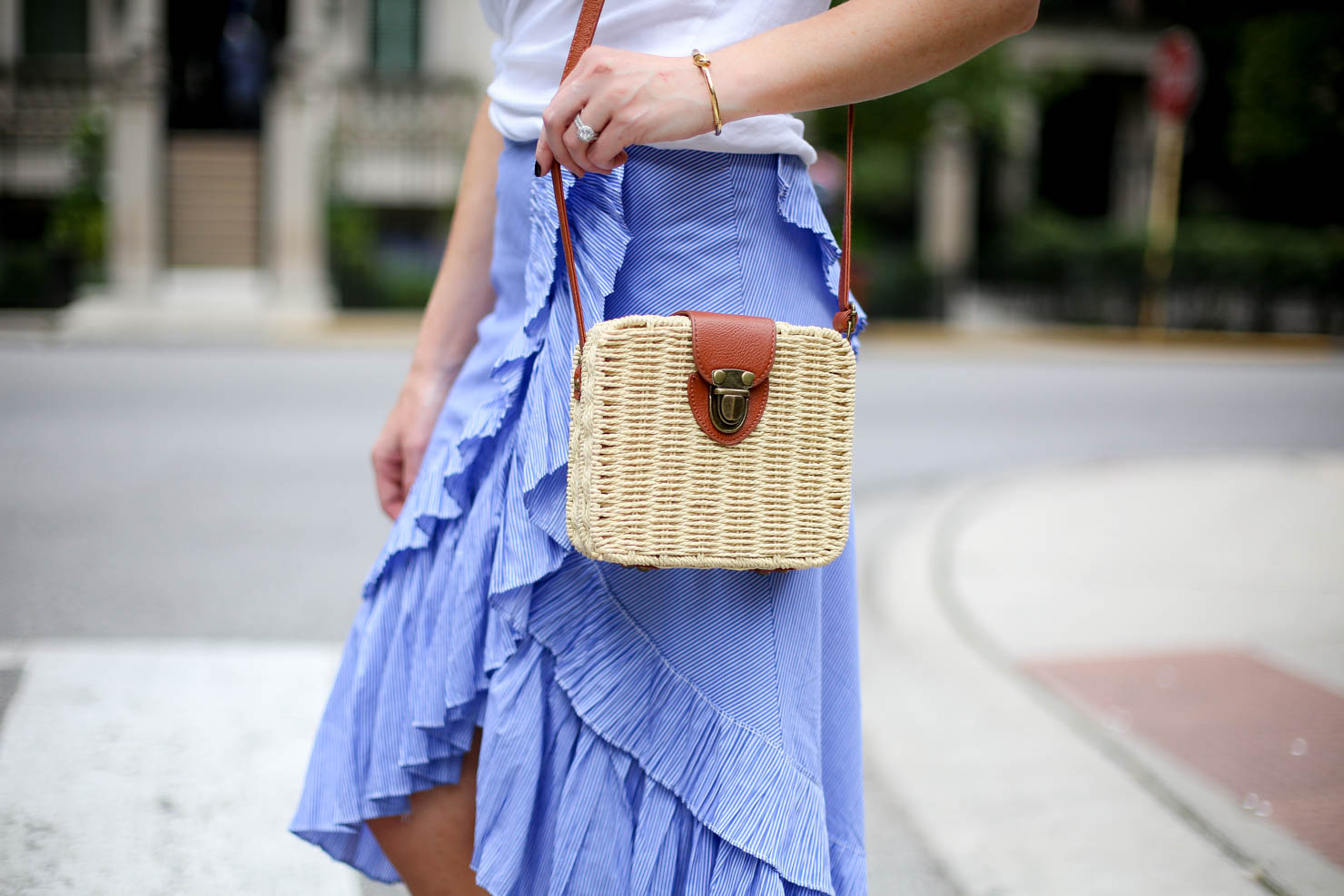 aviator nation, frilled skirt, ruffle tiered frill hem skirt, blue stripe the most feminine skirt midi skirt, casual meets dressy frills and a white tee, favorite summer outfit