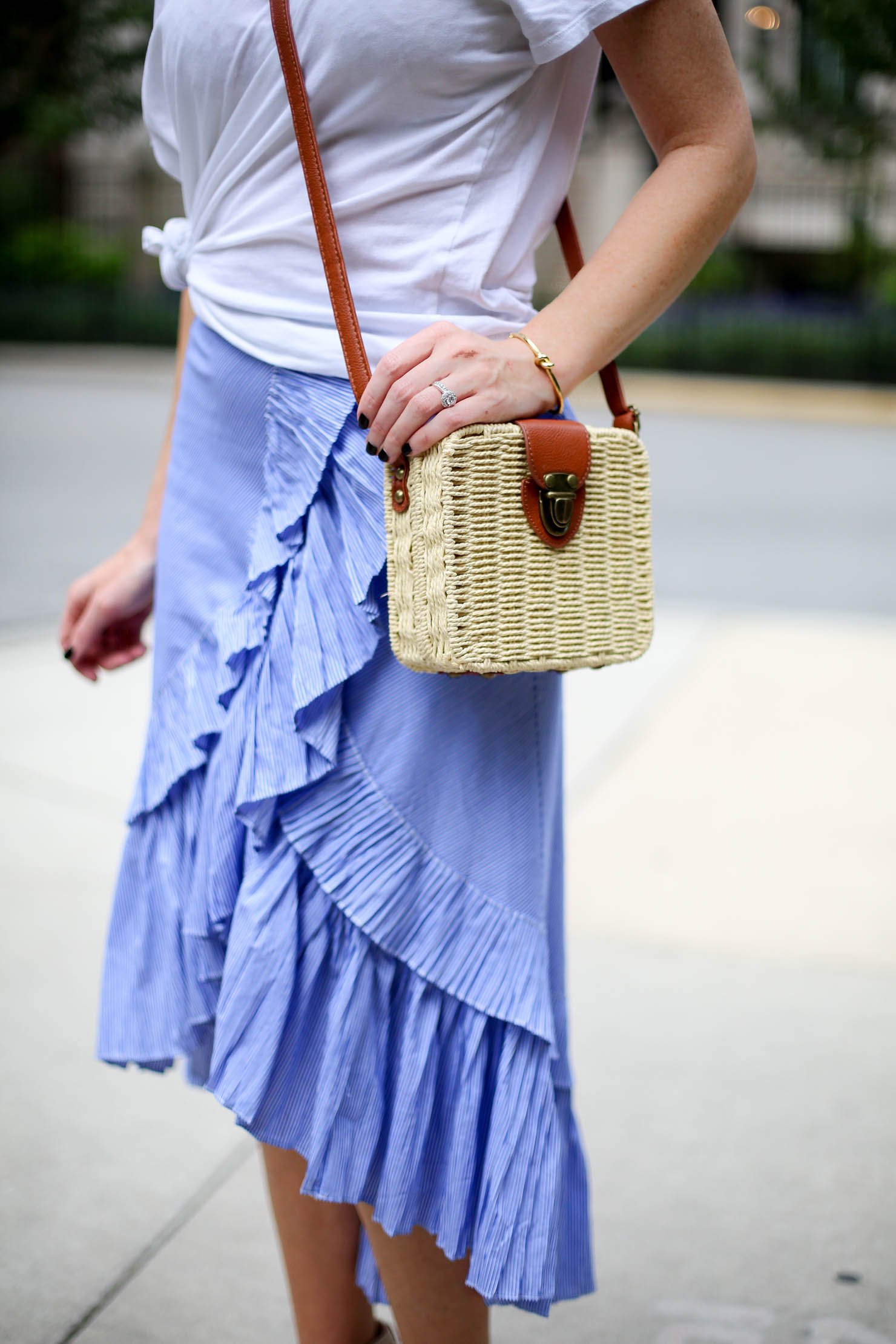 frilled skirt, ruffle tiered frill hem skirt, blue stripe the most feminine skirt midi skirt, casual meets dressy frills and a white tee, favorite summer outfit