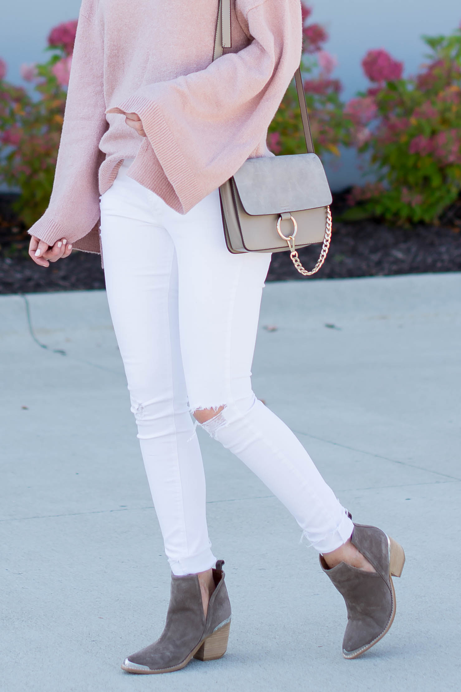 The Sweater and Booties You Need for Fall, pink bell sleeve sweater soft neutral fall outfit, the best fall booties, jeffrey campbell cromwell booties, pink for fall