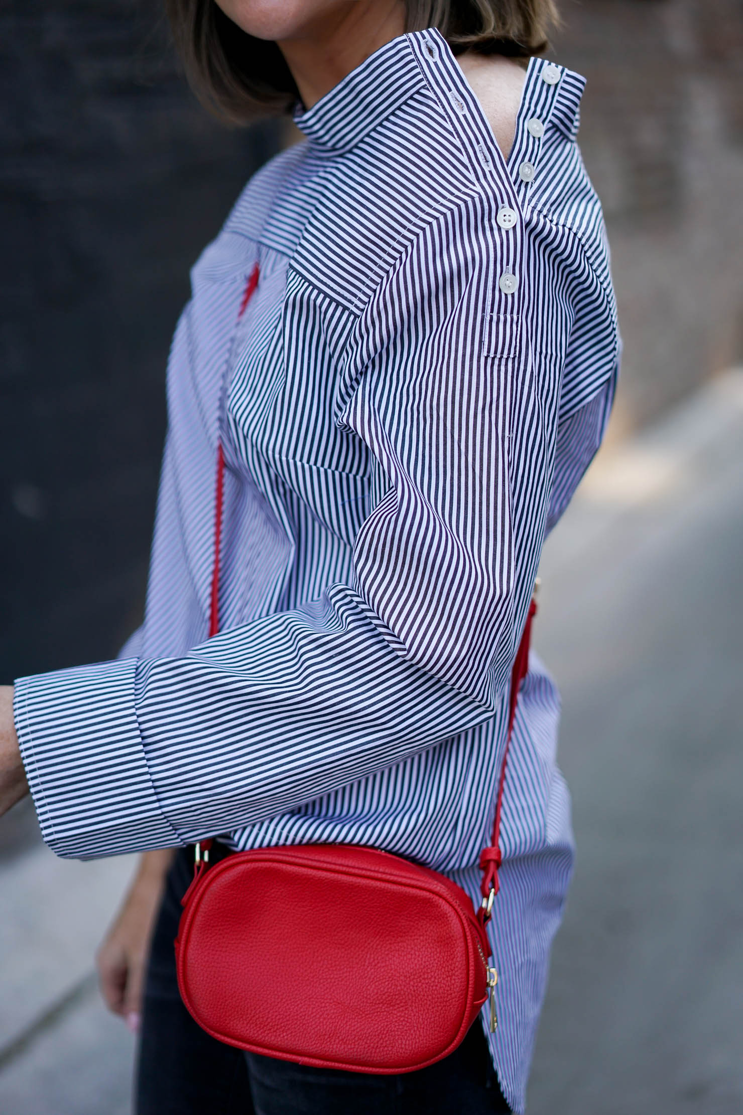 How to Look Pulled Together and Still Be Comfortable, j crew funnel neck striped shirt with buttons, office to evening, the update on a classic womens dress shirt, how to add a pop of red