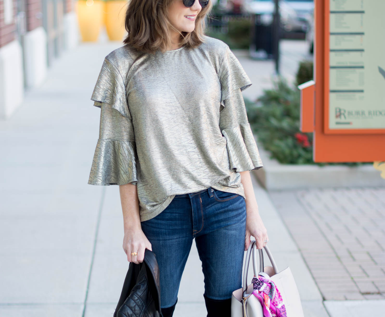 what to wear to-a casual holiday party, bardot gold ruffle sleeve blouse, how to wear a metallic top, how to style a gold blouse