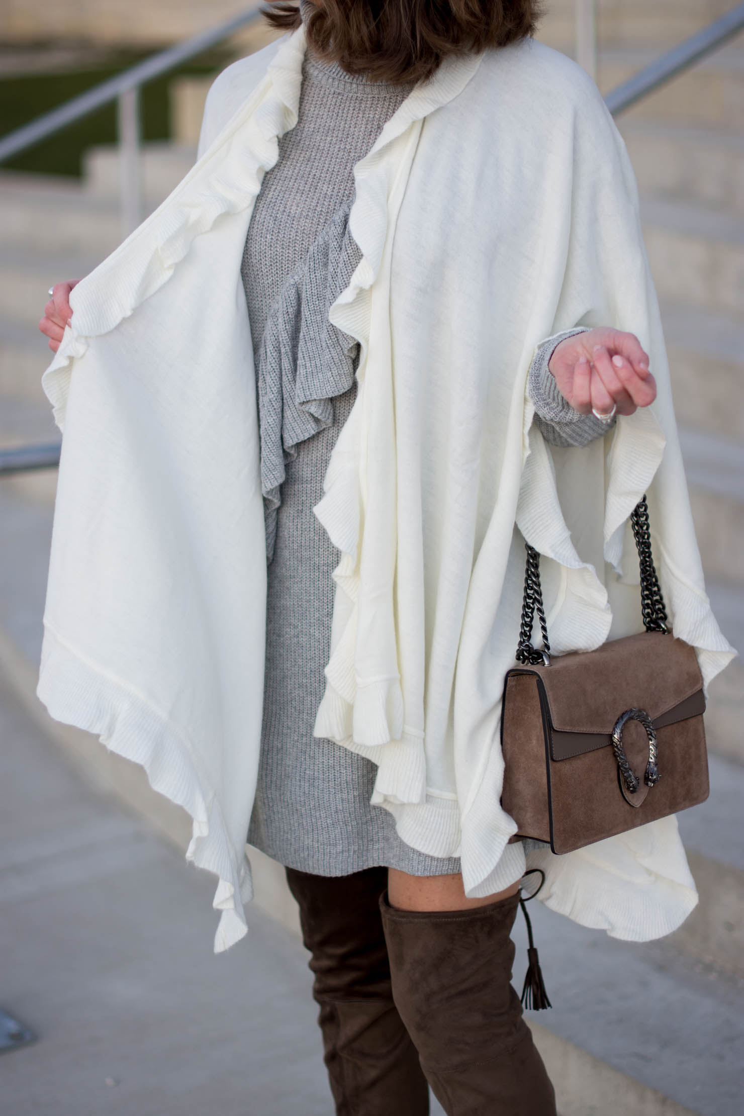 ruffled knits, cozy neutral holiday outfit, nordstrom, halogen ruffled sweater tunic, ruffle ruana, over the knee boots, gucci dionysus dupe