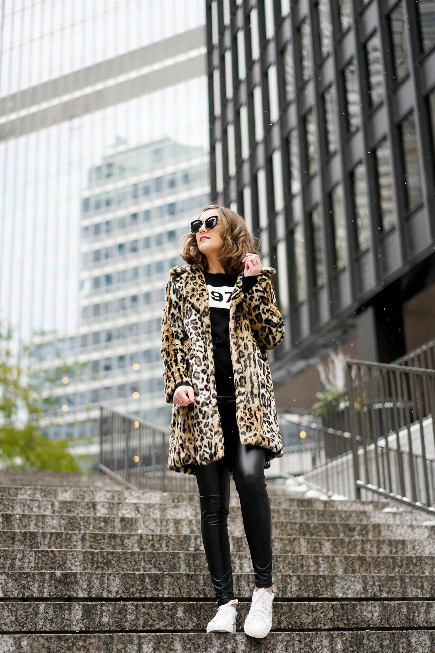 Modern Styling of the Leopard Print Coat, styling the faux fur leopard coat trend, leather, leggings save or splurge, chicago in winter