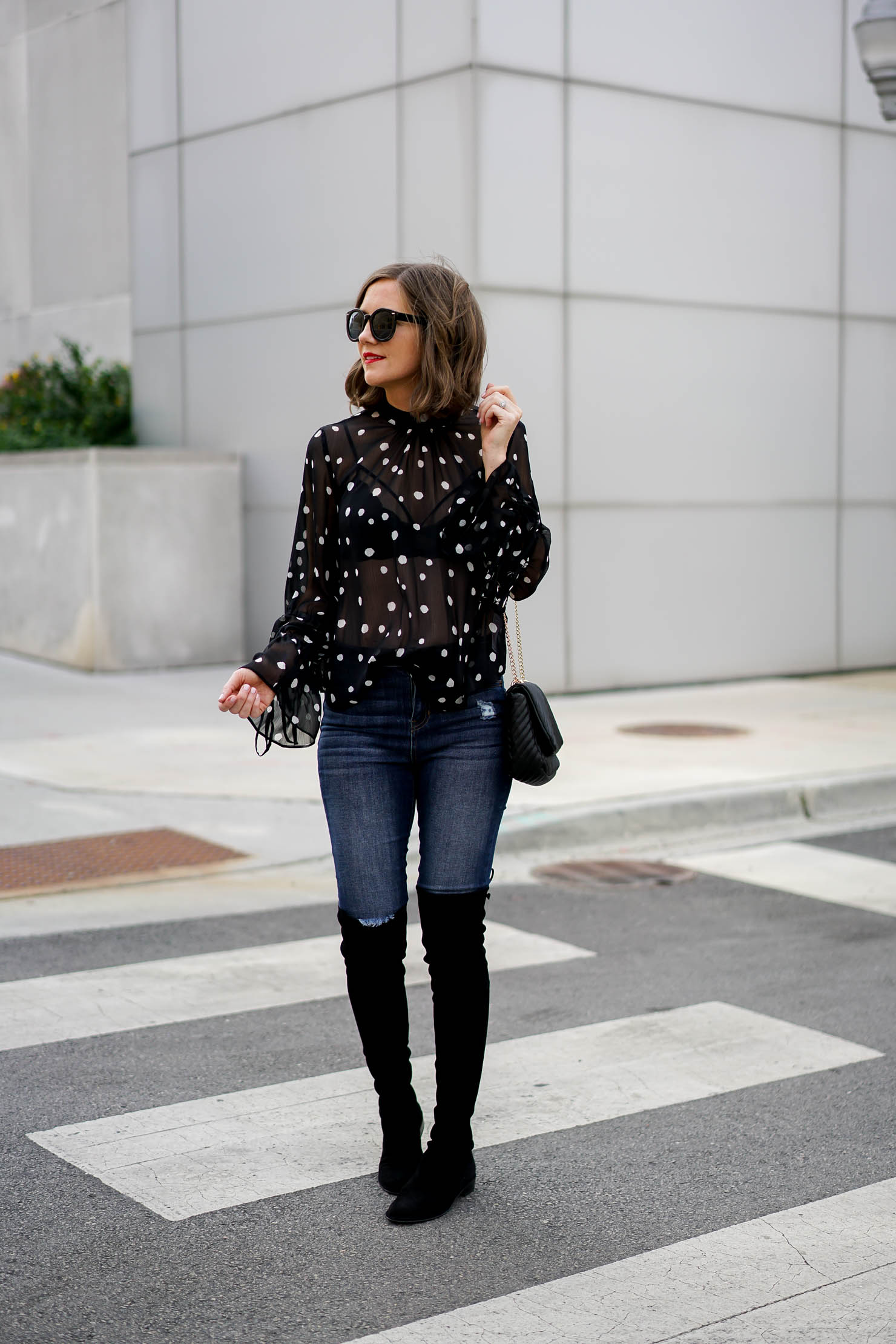 winter date night outfit idea, topshop sheer polka dot blouse, over the knee boots, cold weather date night ideas, how to look stylish in cold weather