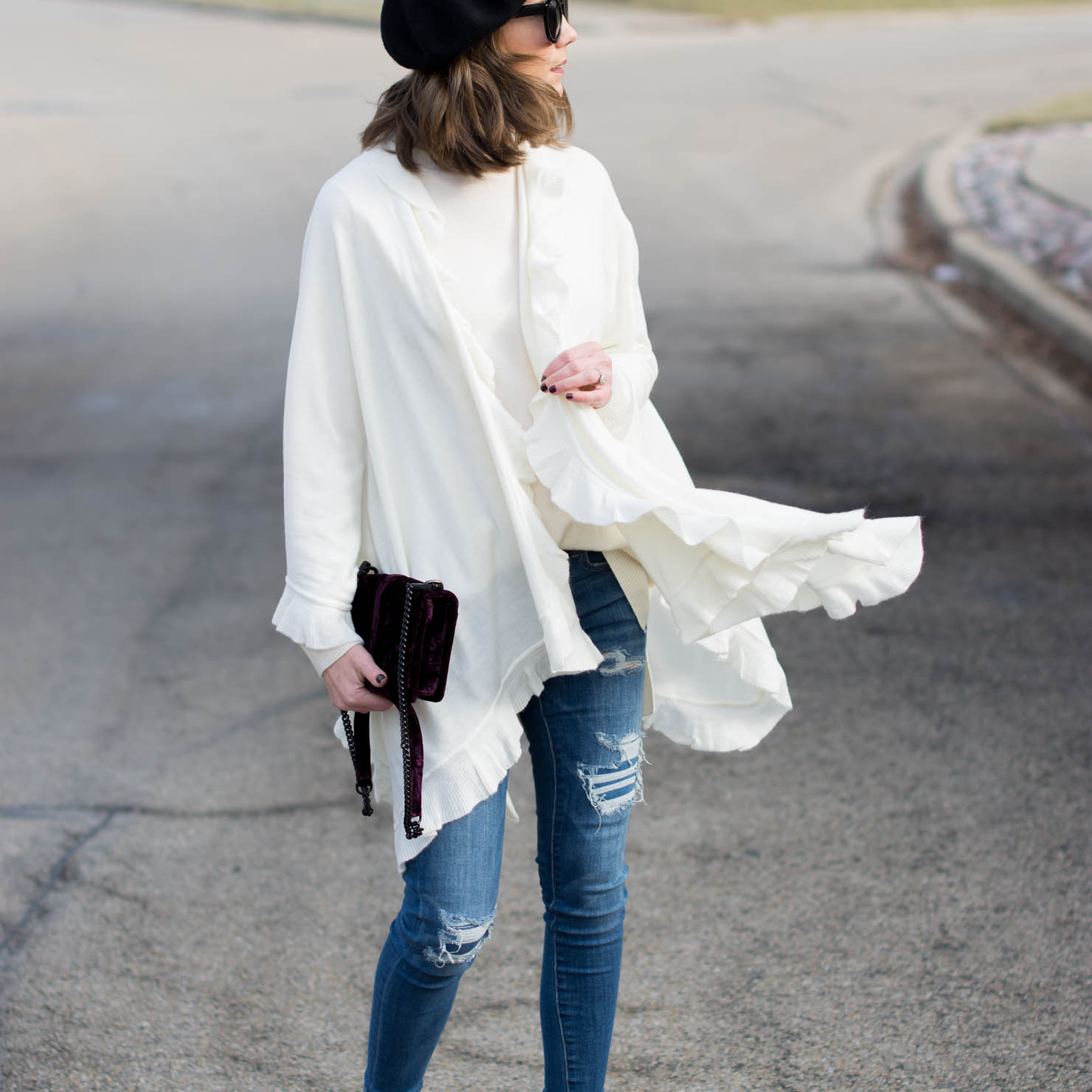 an easy and warm valentines day outfit idea, ruffles, knit poncho cape
