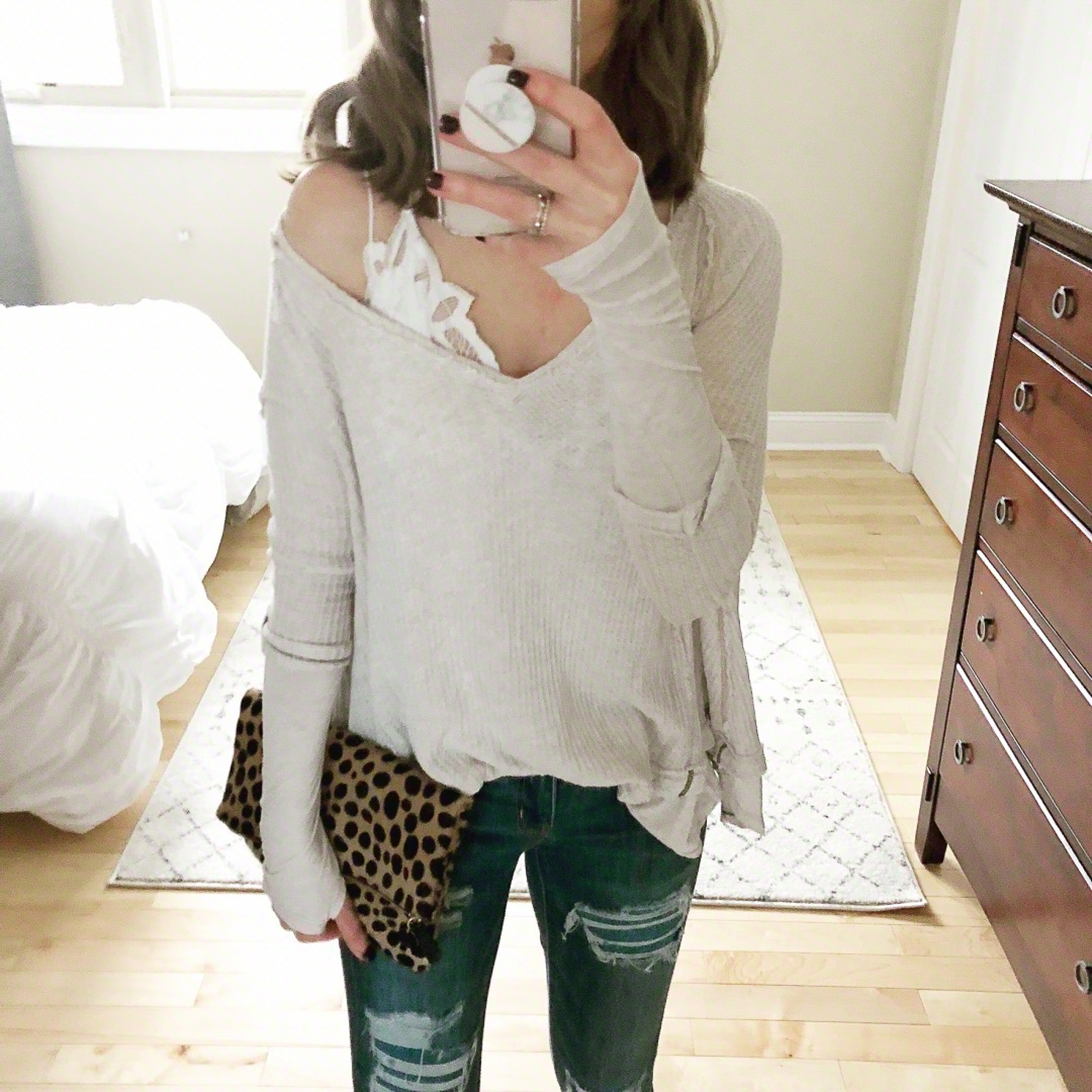 Outfits for Transitional Spring Weather, free-people-laguna-top-with-lace-bralette-leopard-clutch