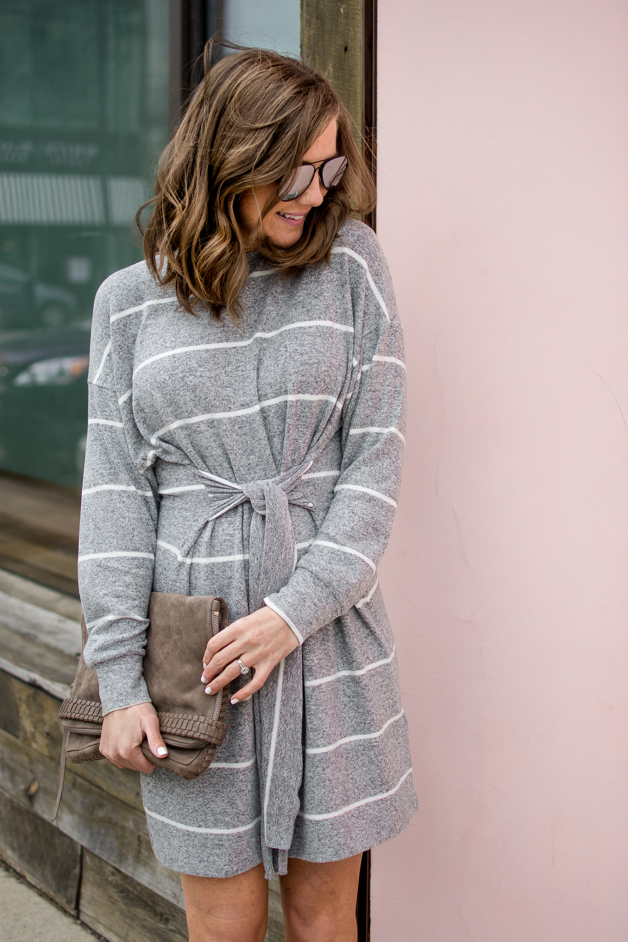 grey tie front dress, sweatshirt dress, the most flattering dress silhouette, spring neutrals, Topshop self tie sweater dress