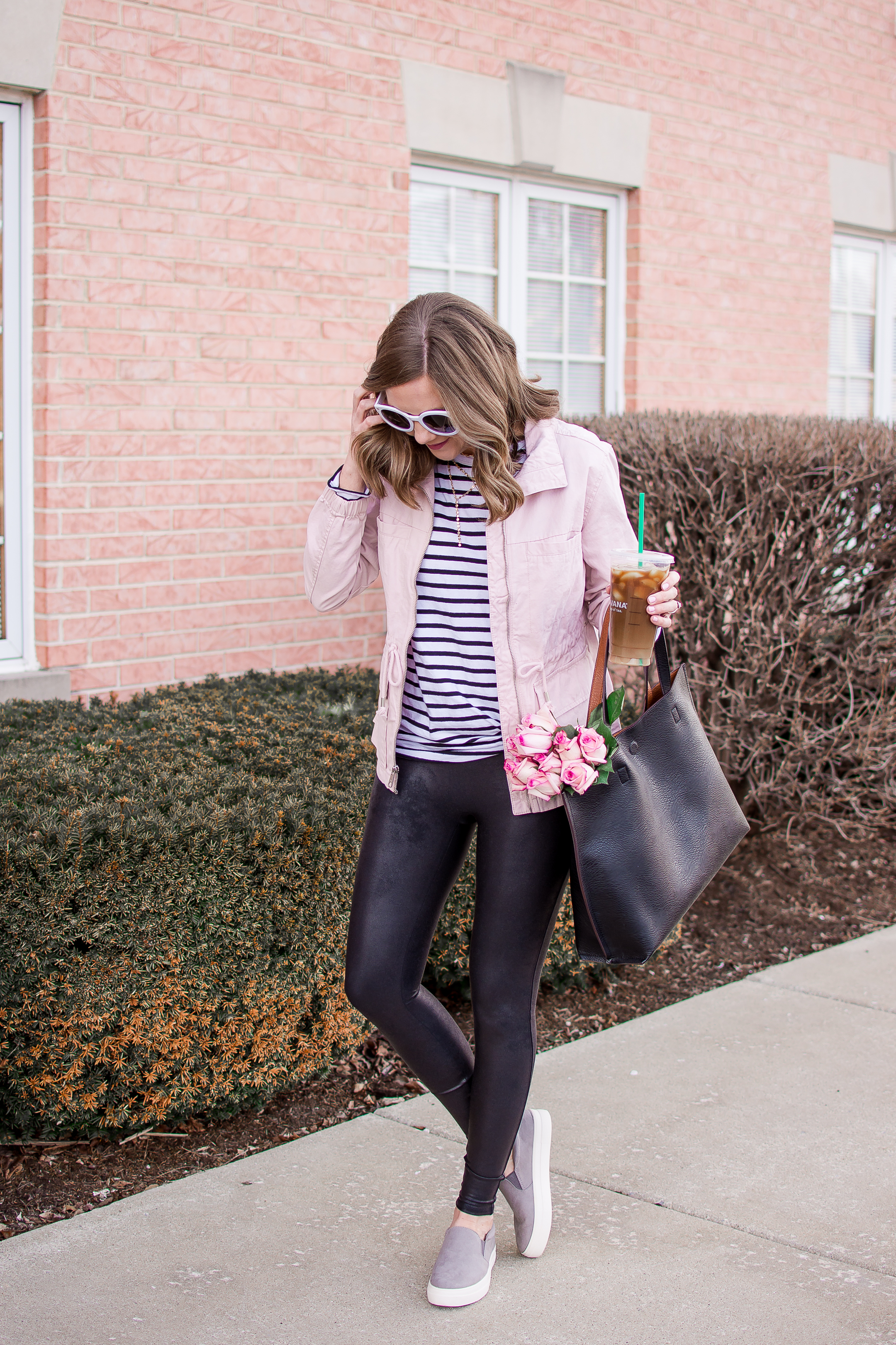 pastel pink for spring and a casual leather leggings